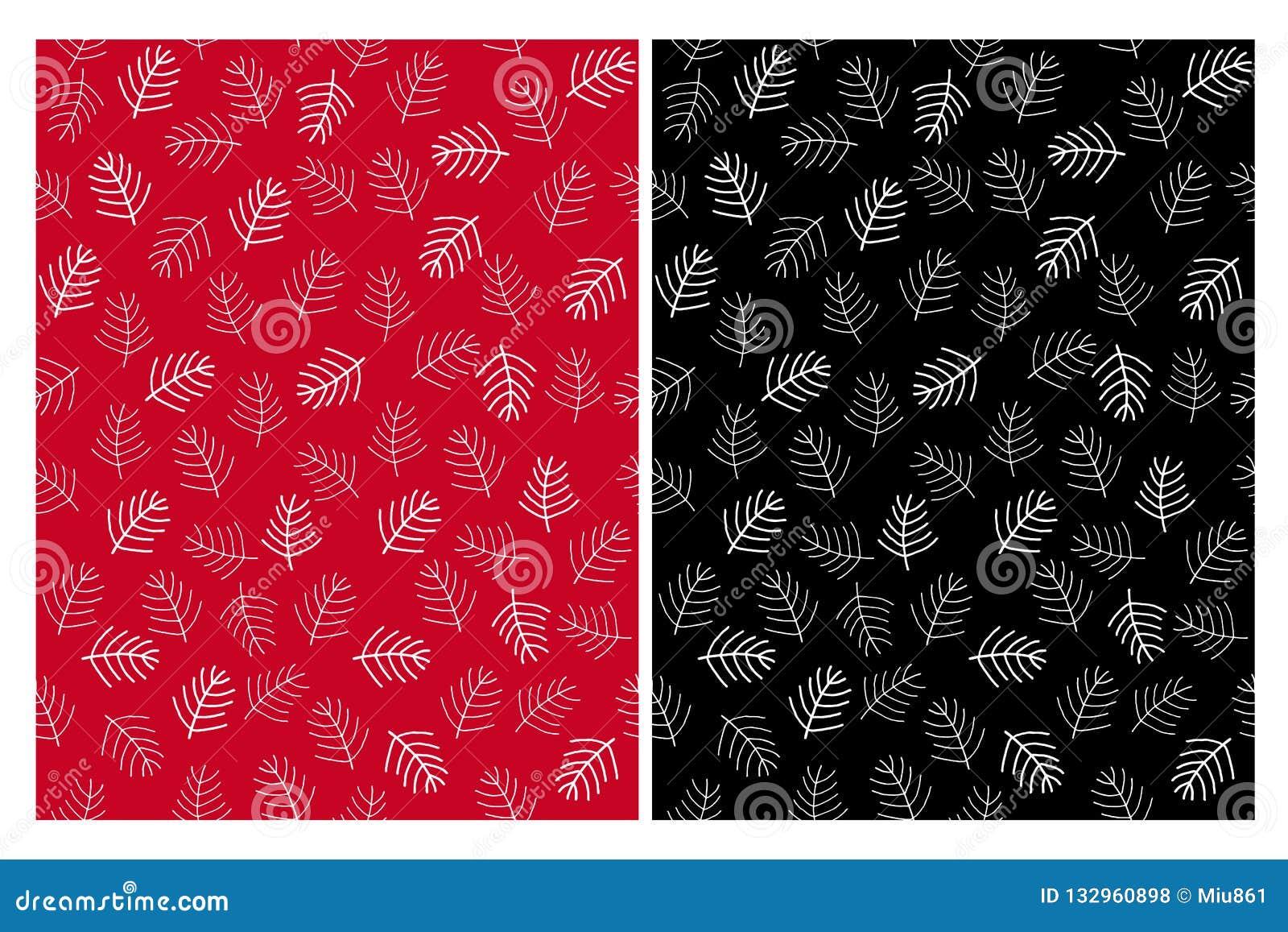 De abstracte Naadloze Vectorpatronen van Kerstboomtakjes Zwart, rood en wit ontwerp