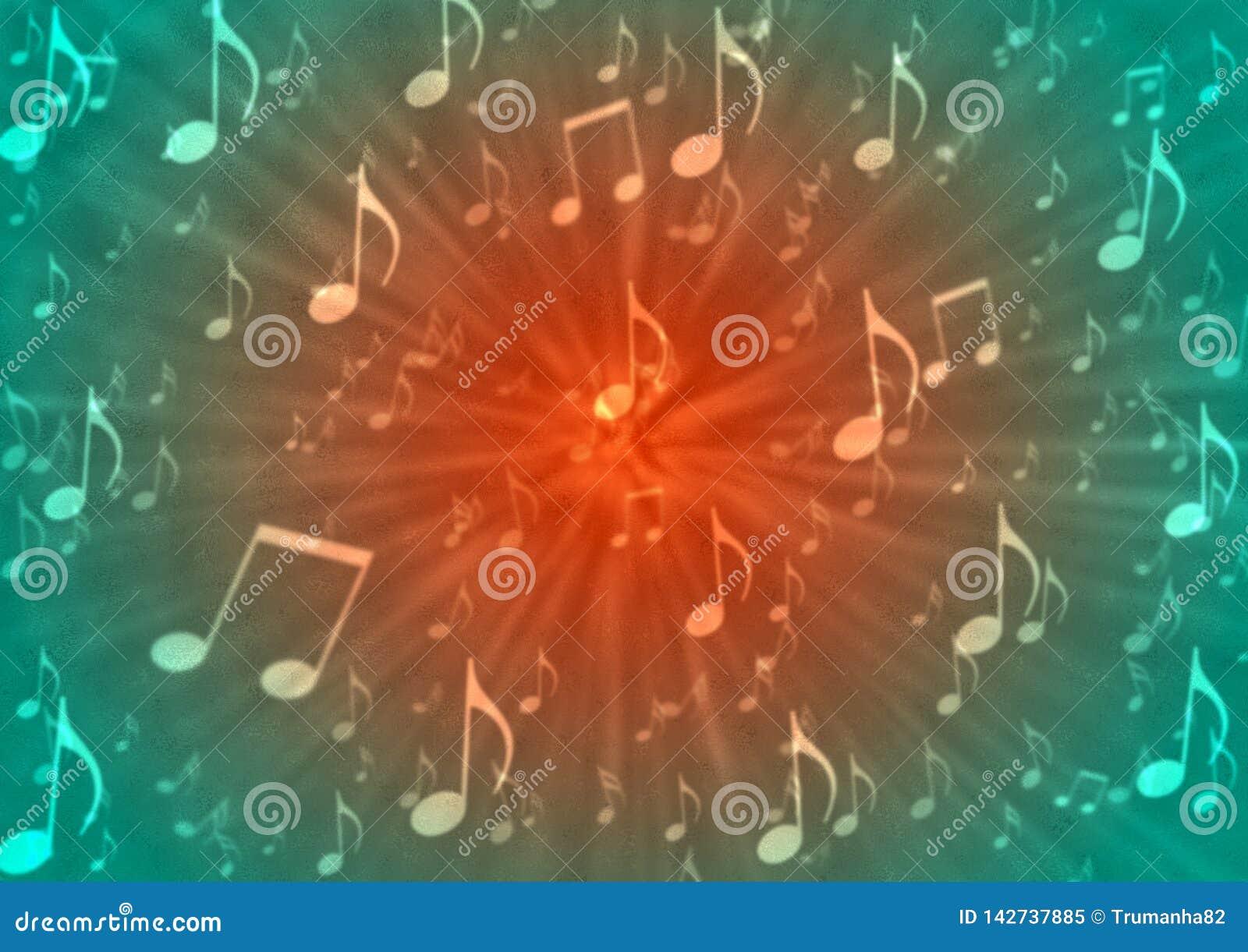 De abstracte Ontploffing van Muzieknota s op Onscherpe Rode en Groene Achtergrond