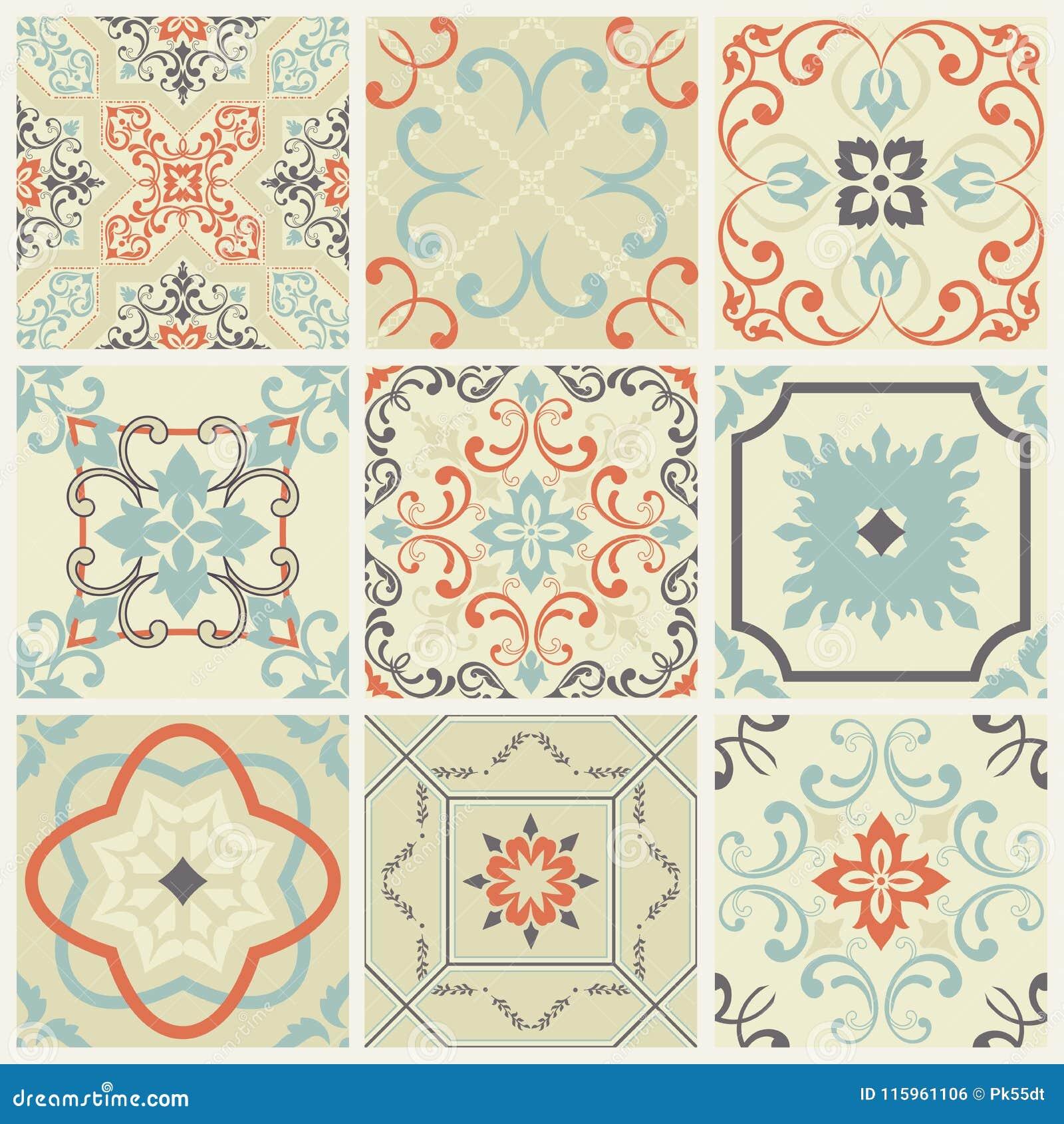 De abstracte reeks van damastpatronen van negen naadloos in retro stijl voor ontwerpgebruik Vector illustratie