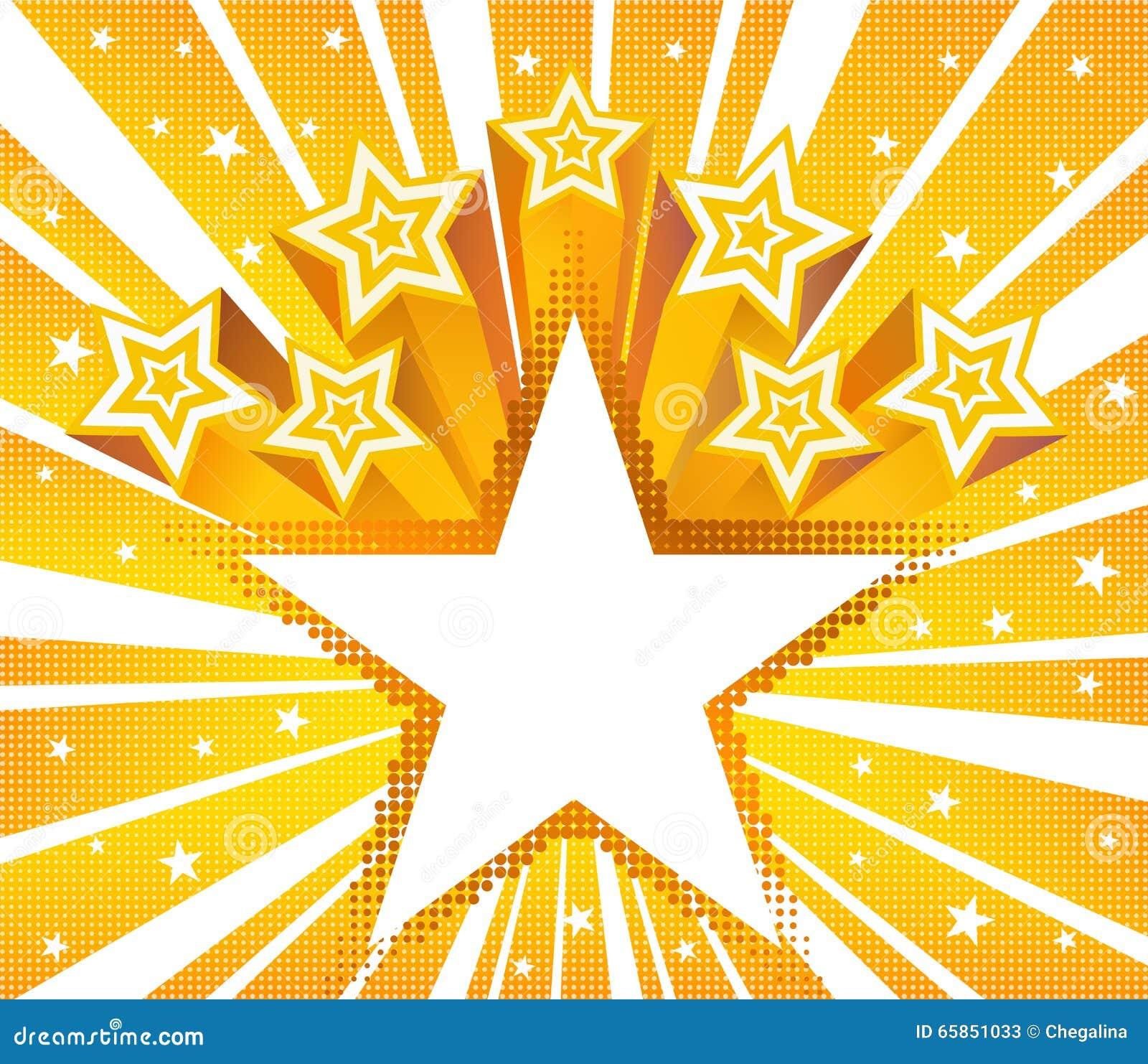 De abstracte ster barstte achtergrond Halftone gouden vectorachtergrond