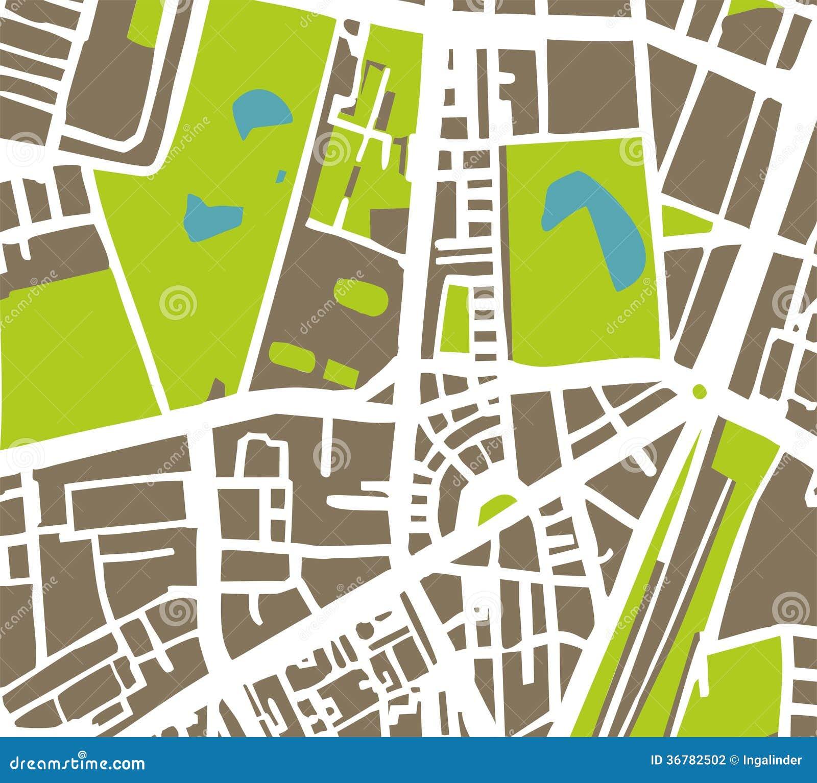 De abstracte vectorillustratie van de stadskaart