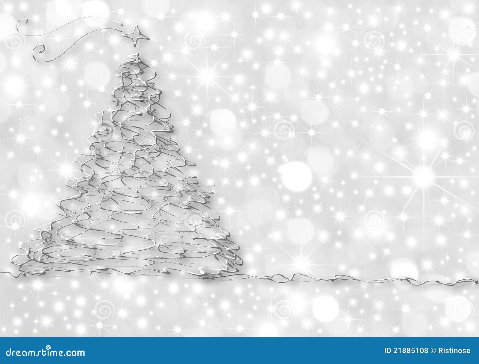 De Abstracte Zilveren Spar Van Kerstkaarten Stock Illustratie