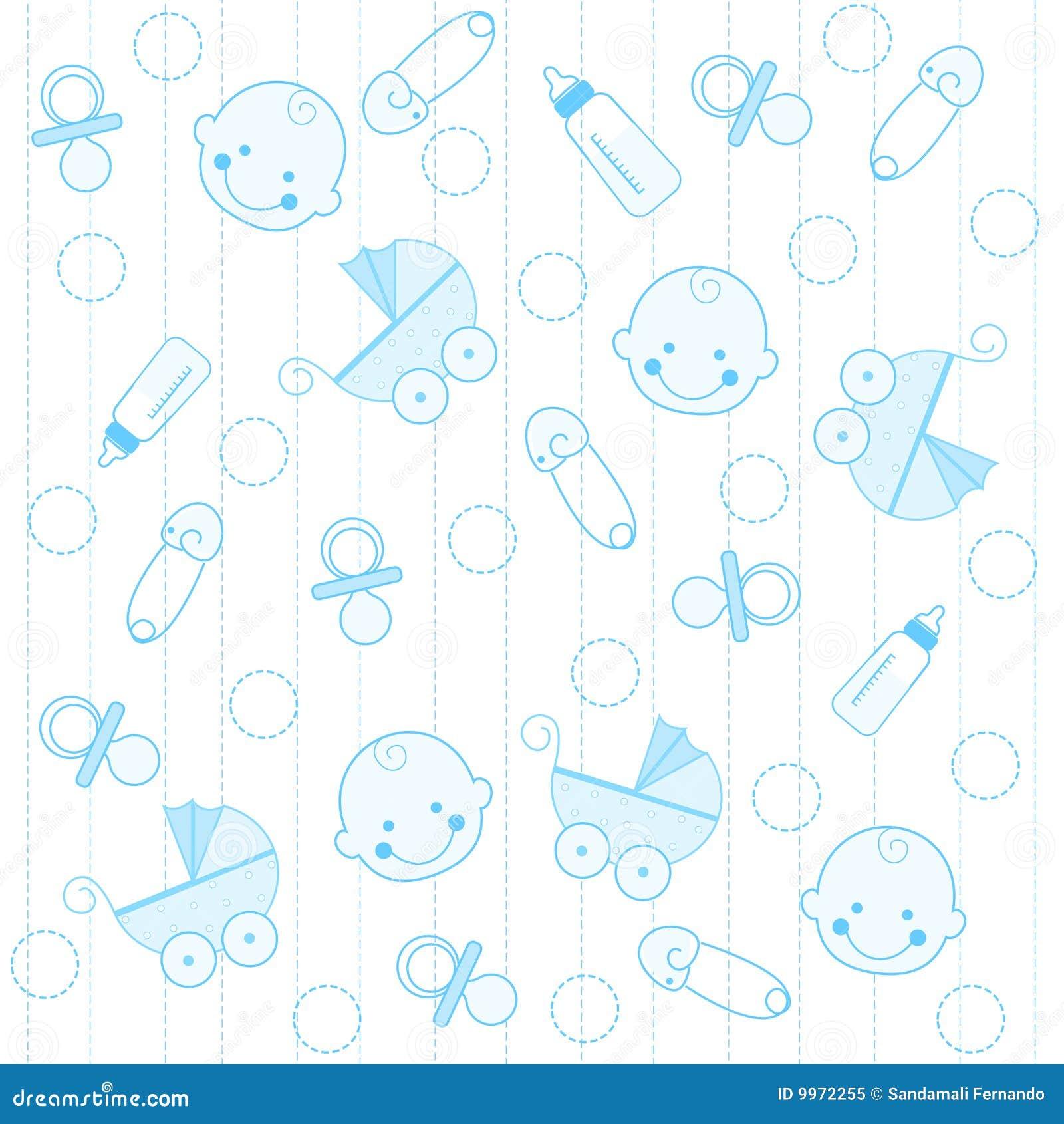 Baby Behang Jongen.De Achtergrond Van De Jongen Van De Baby Vector Illustratie