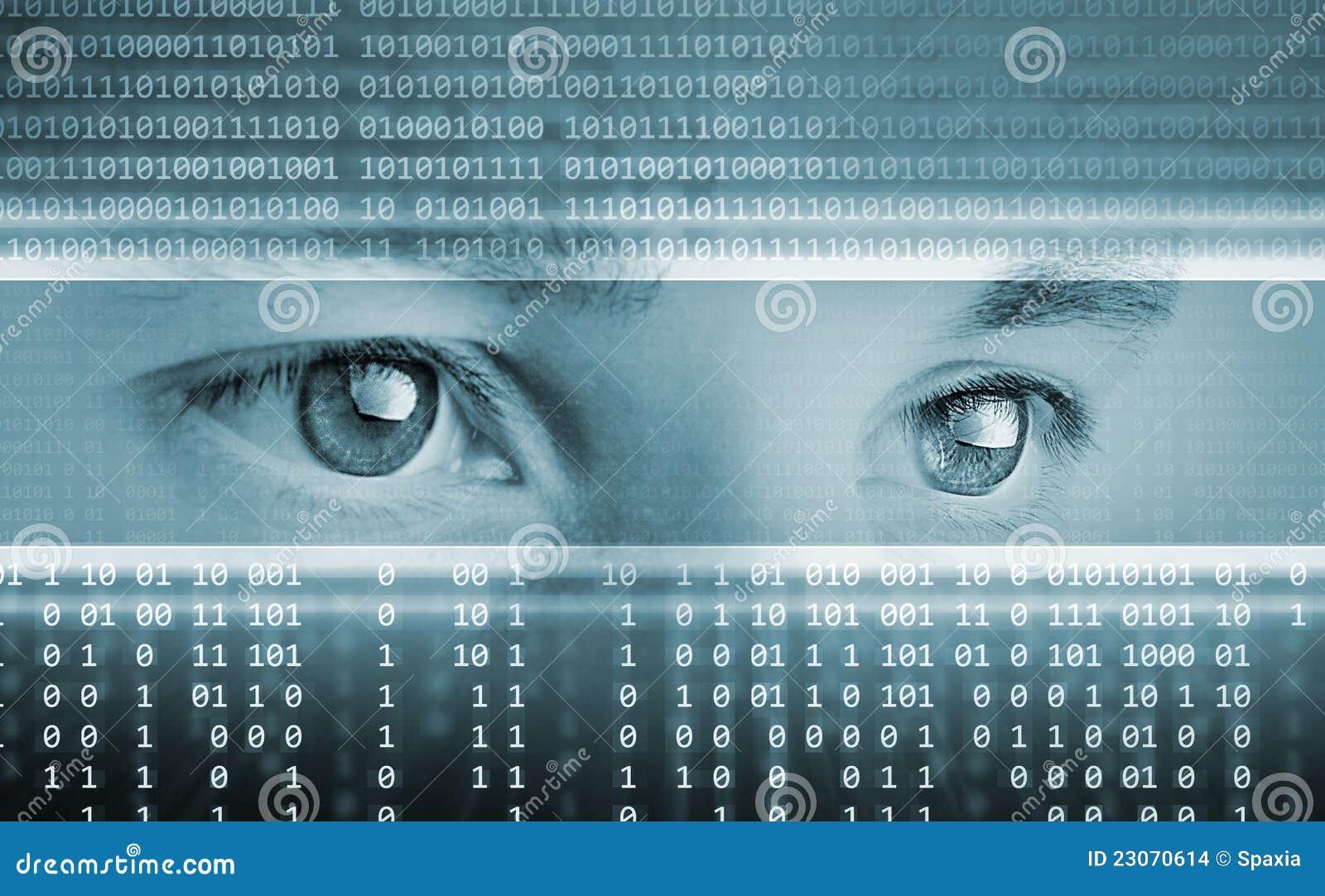 De achtergrond van de technologie met ogen