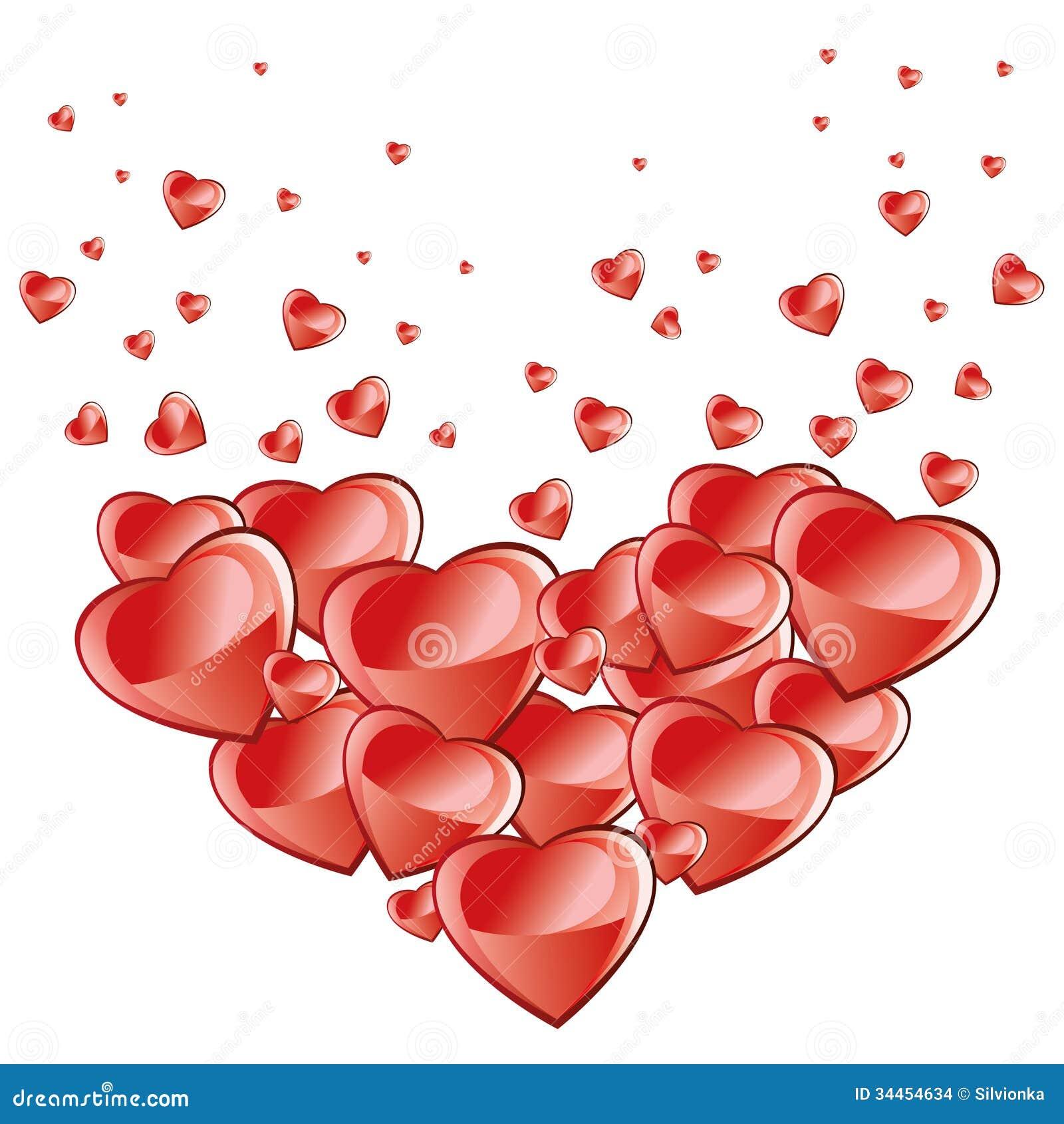 De achtergrond van de valentijnskaartendag, dalende harten
