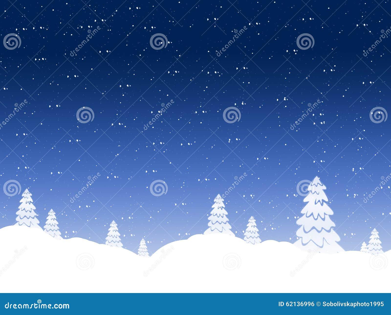 De achtergrond van de winter dalende sneeuw tegen de donkerblauwe hemel