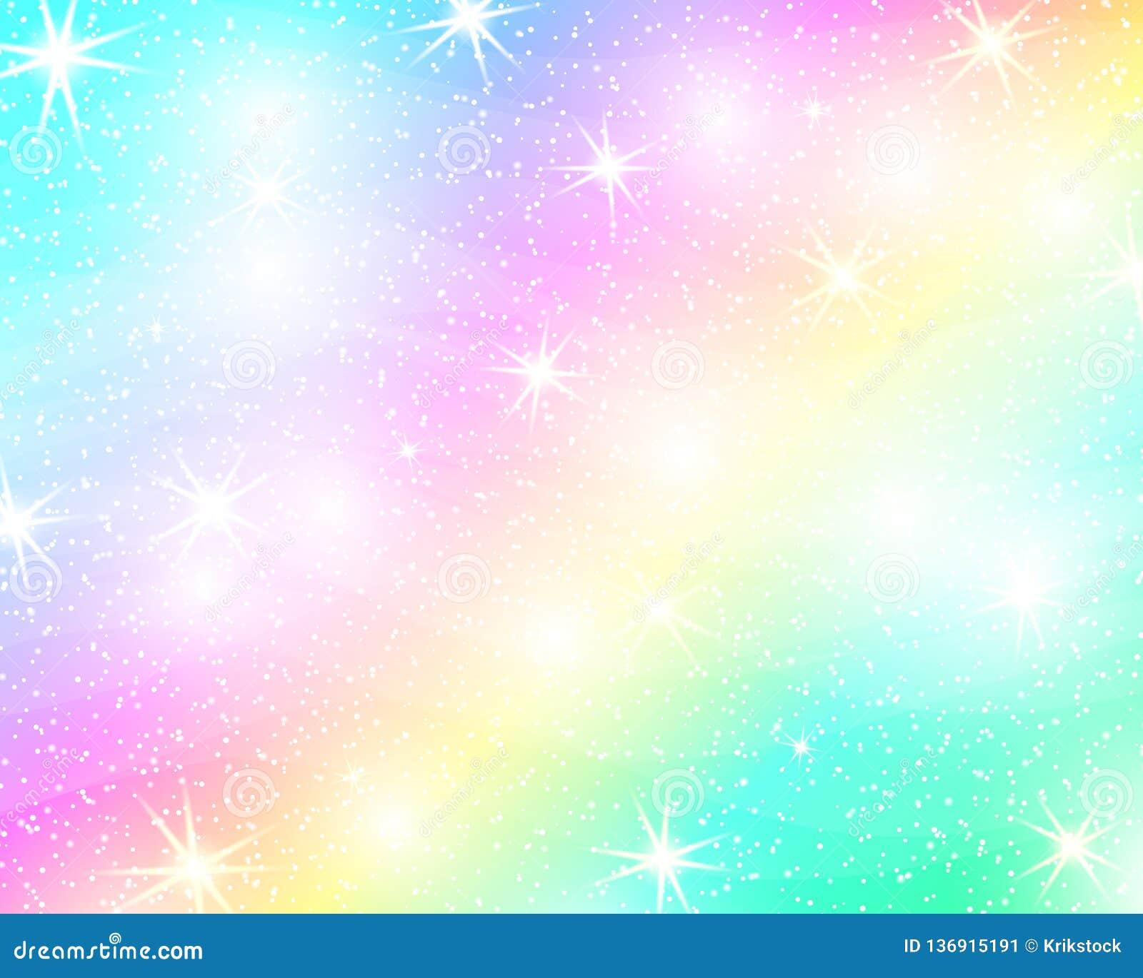 De achtergrond van de eenhoornregenboog Holografische hemel in pastelkleur Helder meerminpatroon in prinseskleuren Vector illustr