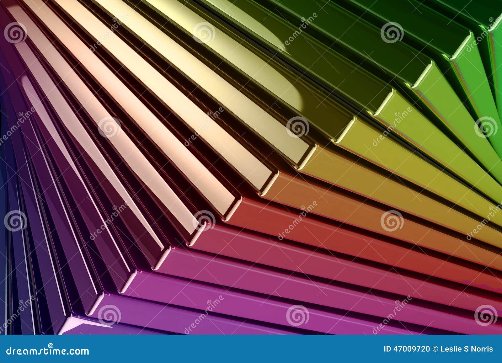 De achtergrond van Gestapelde Metaal Weerspiegelende Regenboog kleurde Vierkant