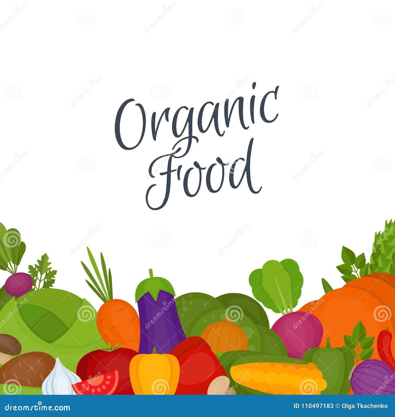 De achtergrond van groenten Gezond voedsel Vlakke stijl, vectorillustra
