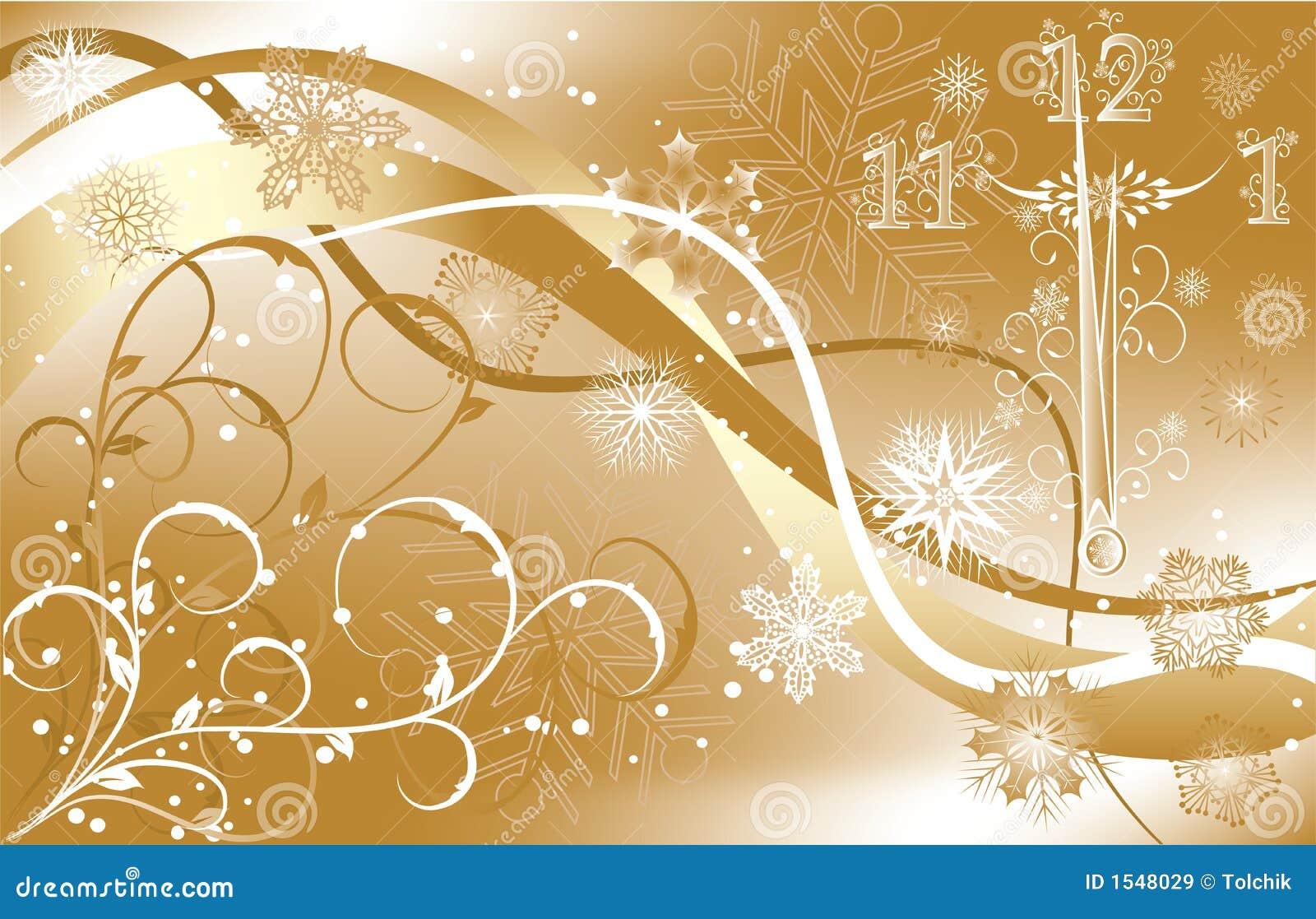 De achtergrond van het nieuwe jaar met klok, vector