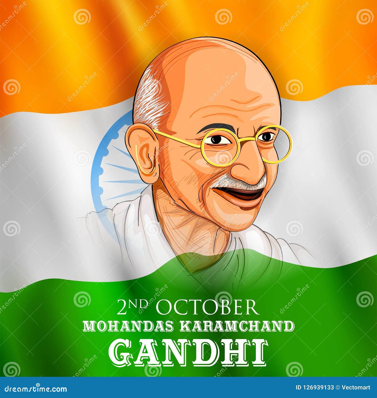 De achtergrond van India met Natieheld en Vrijheidsvechter Mahatma Gandhi voor Onafhankelijkheidsdag of Gandhi Jayanti