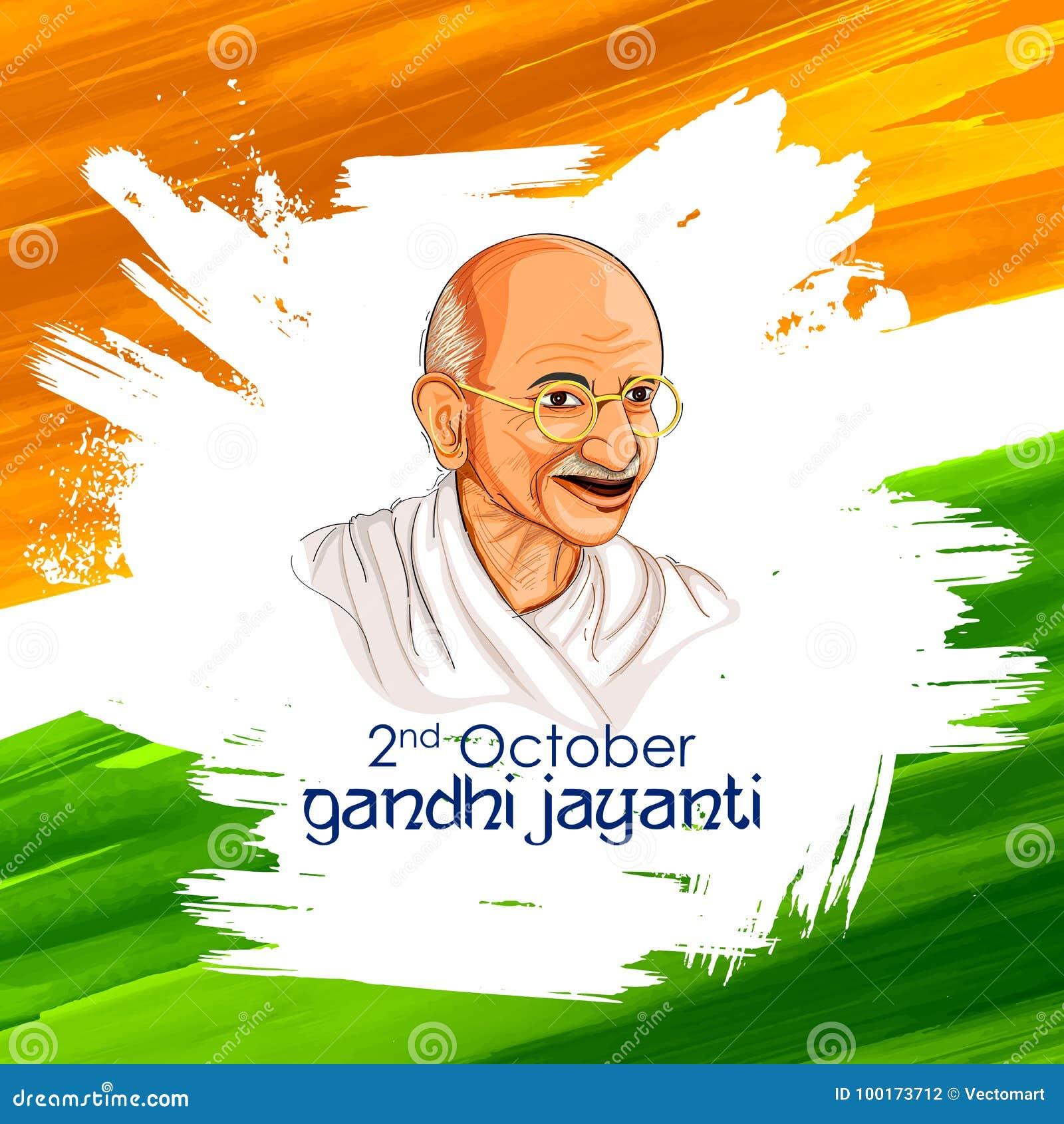 De achtergrond van India voor 2 de Verjaardagsviering van Oktober Gandhi Jayanti van Mahatma Gandhi