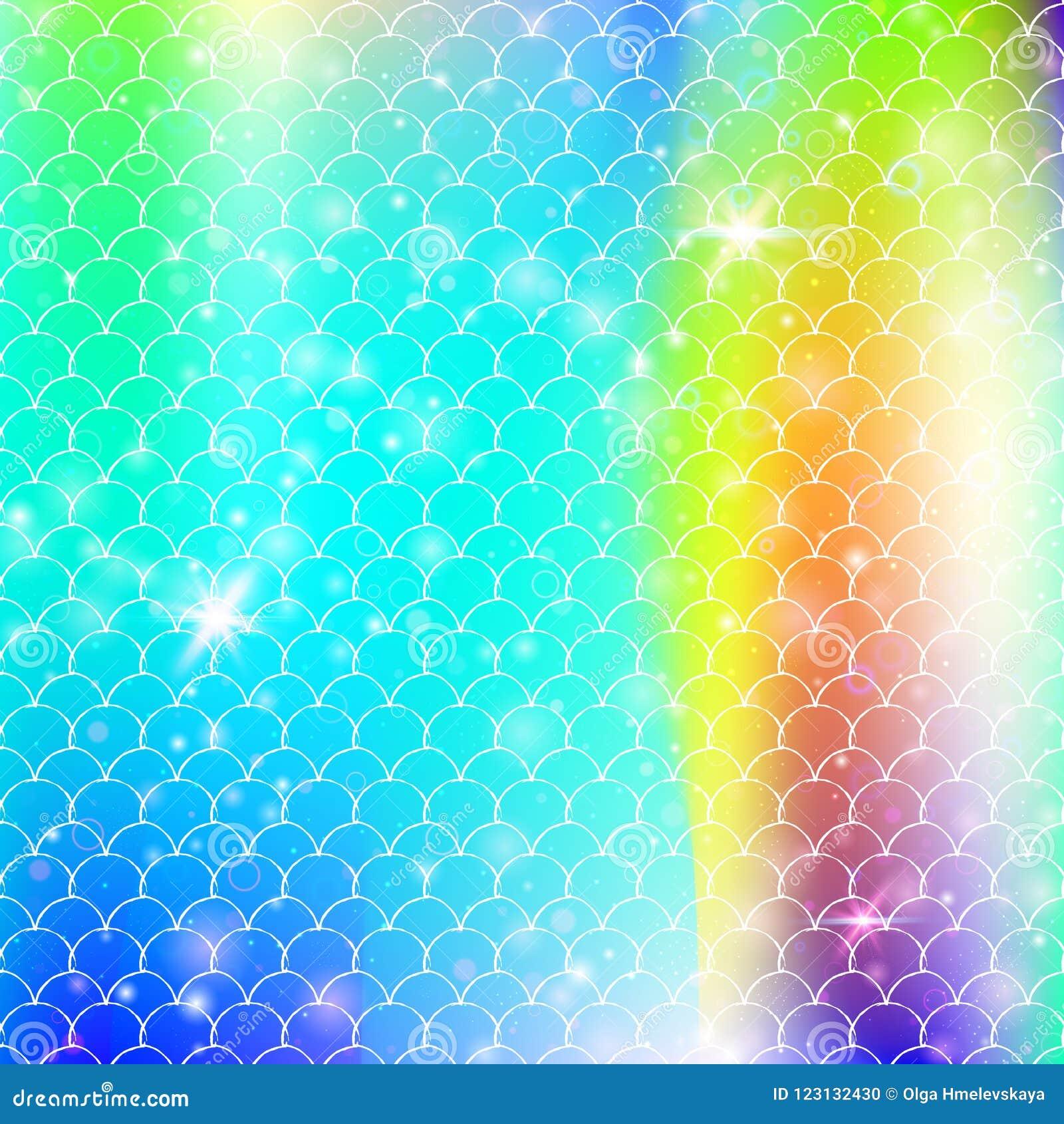 De achtergrond van de Kawaiimeermin met de schalenpatroon van de prinsesregenboog