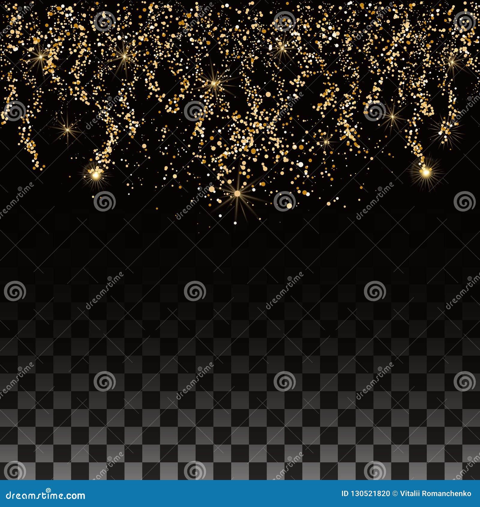 De achtergrond van Kerstmis Gouden confettien en sterren op een transparante achtergrond Chaotische dalende gloeiende deeltjes