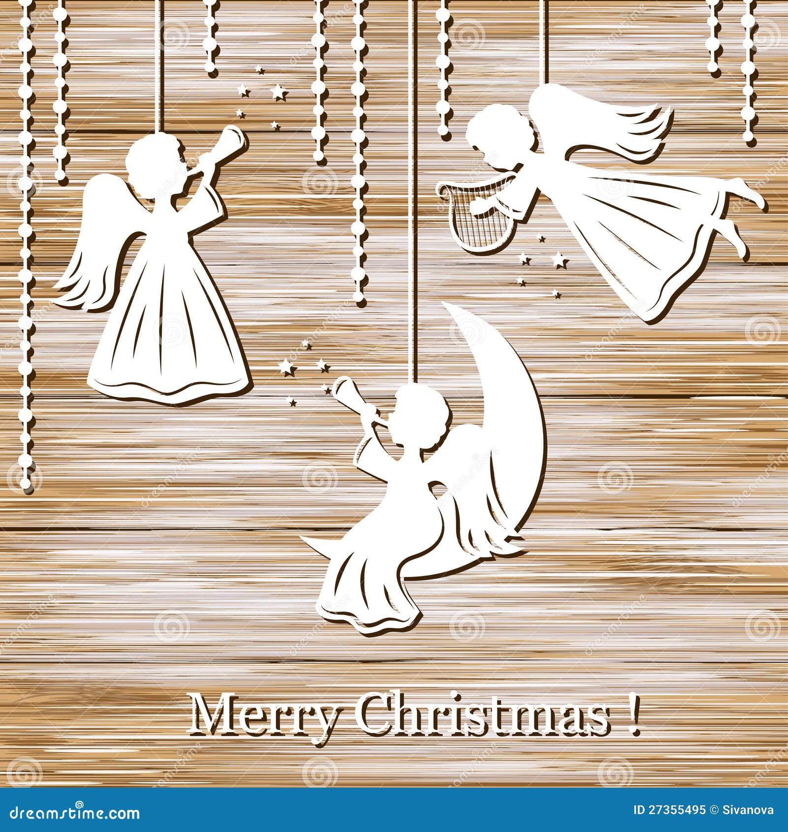 De achtergrond van Kerstmis met engelen