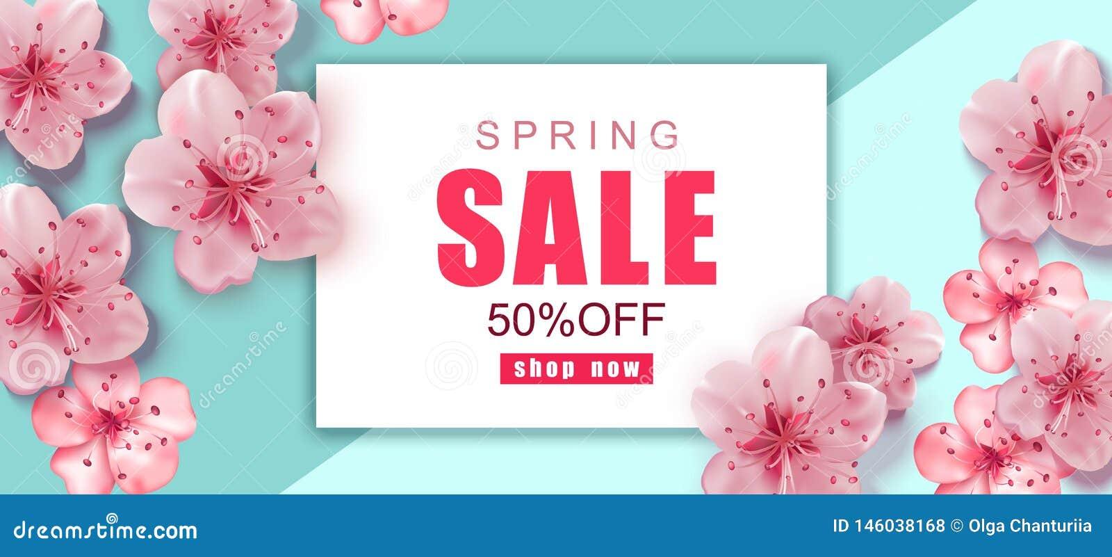 De achtergrond van de de lenteverkoop met roze kers komt realistische bloemen tot bloei