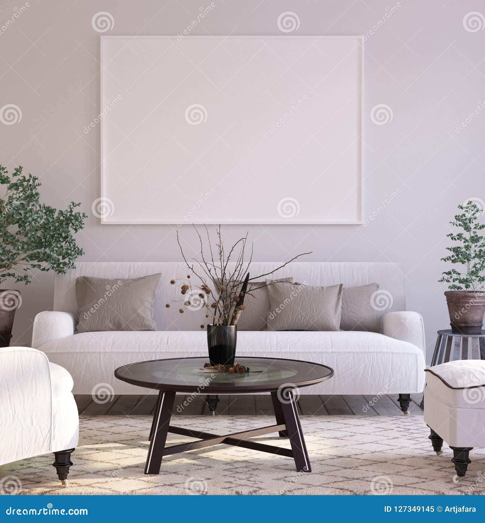 De achtergrond van de modelaffiche in woonkamer binnenlandse, Skandinavische stijl