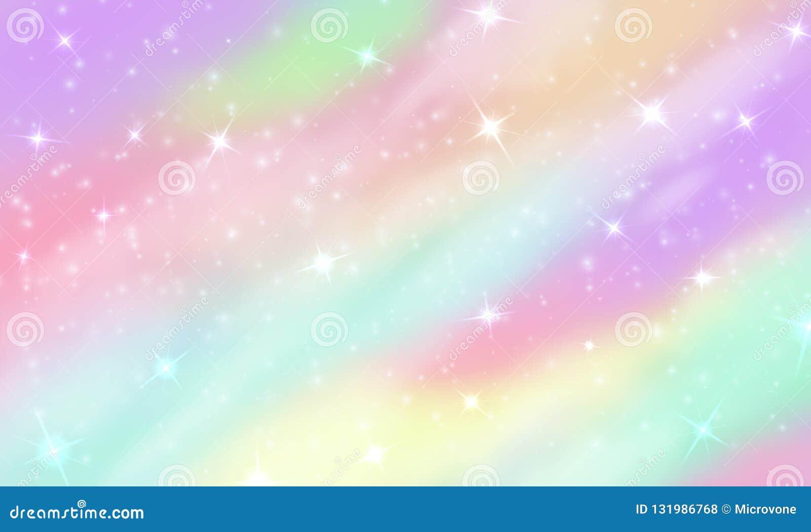 De achtergrond van de regenboogeenhoorn Meermin schitterende melkweg in pastelkleuren met sterren bokeh Magische roze holografisc