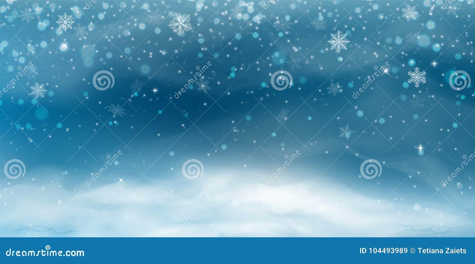 De achtergrond van de sneeuw Het landschap van de winterkerstmis met koude hemel, blizzard