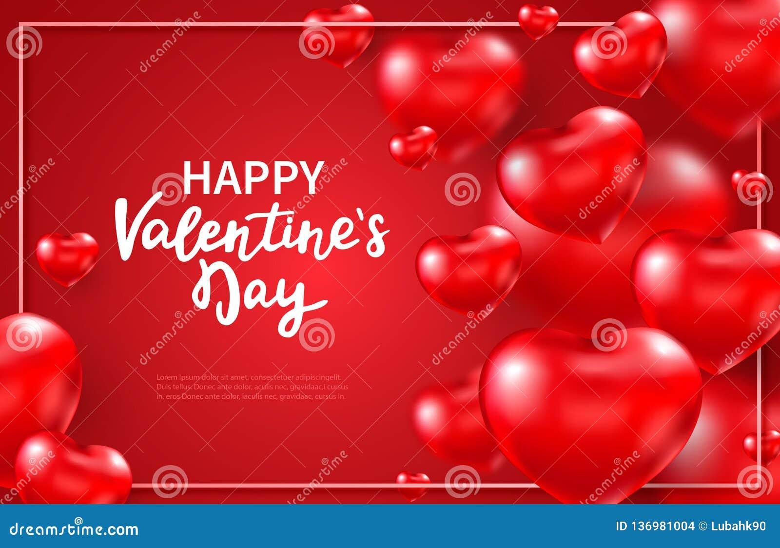 De achtergrond van de valentijnskaartendag met rode 3d glanzende harten en plaats voor tekst Vliegende rode hartballons Gelukkige