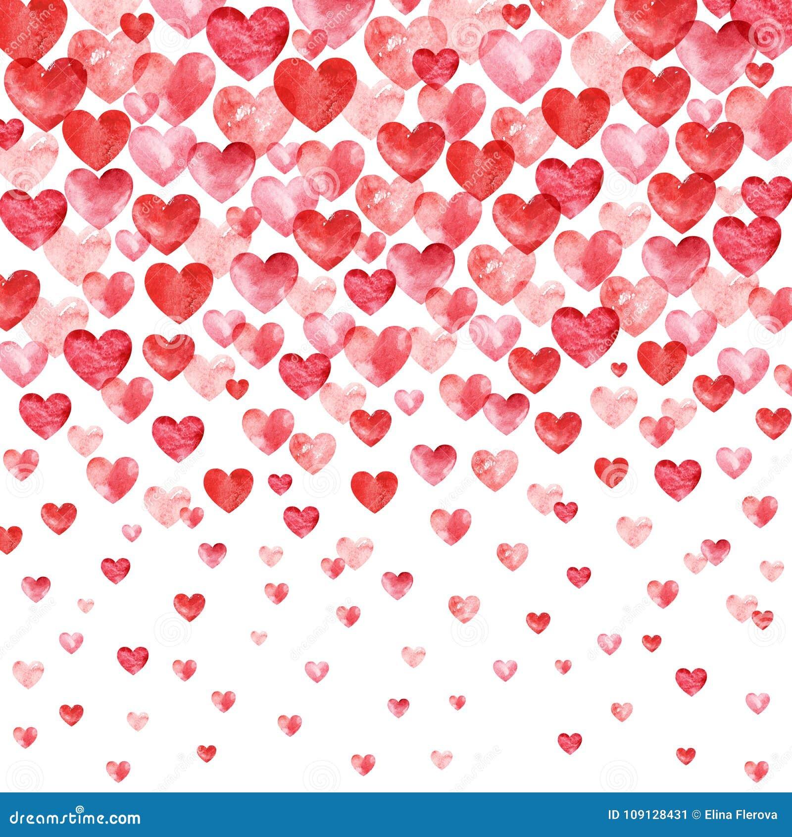 De achtergrond van de valentijnskaartendag De rode Achtergrond van waterverfharten met dalende harten