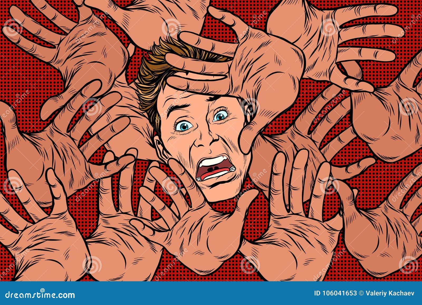 De achtergrond van de verschrikkingsvrees, handen en bang gemaakt gezicht