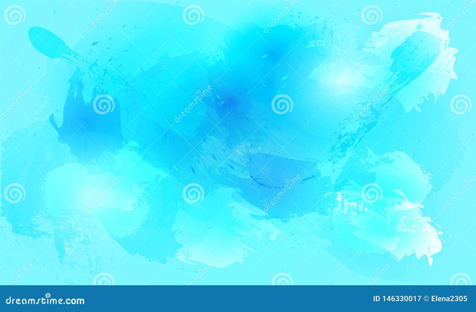 De achtergrond van de waterverfplons in blauwe tinten