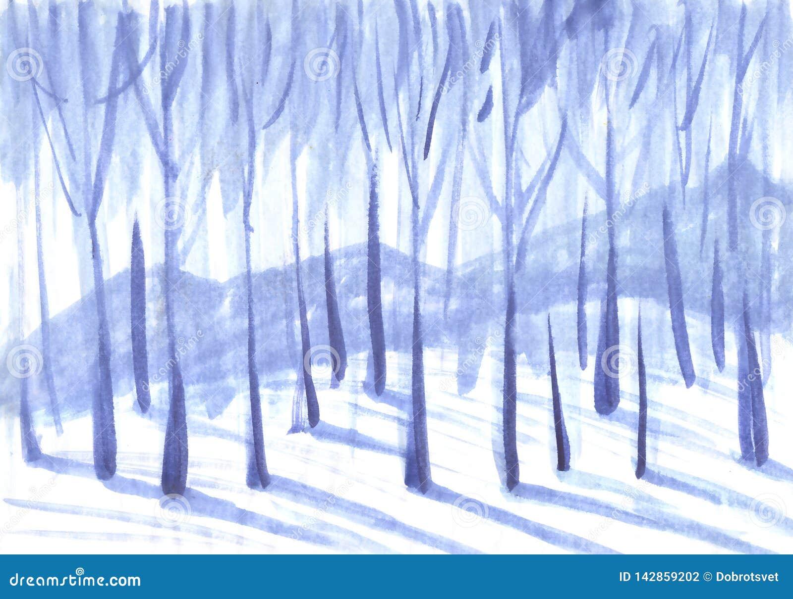 De achtergrond van de winter Bomen in een sneeuwbos