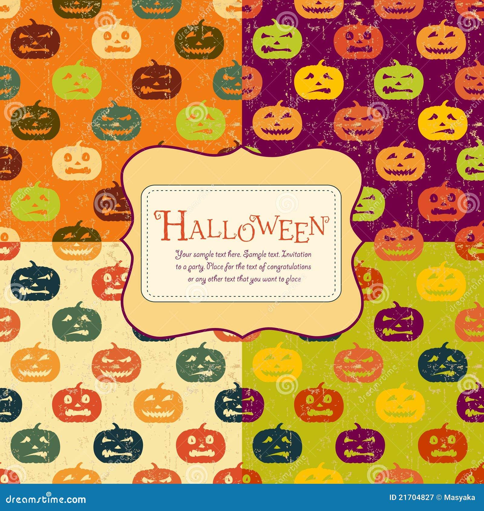 De achtergronden van Halloween die met markering worden geplaatst. Vier kleuren.