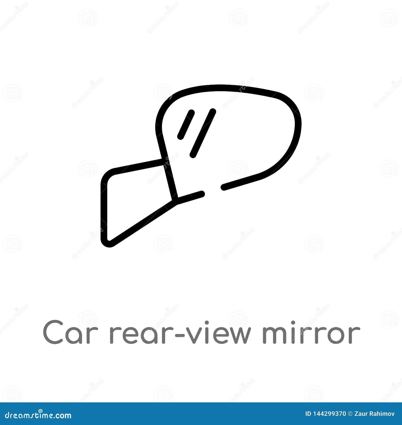 De achteruitkijkspiegel vectorpictogram van de overzichtsauto de ge?soleerde zwarte eenvoudige illustratie van het lijnelement va