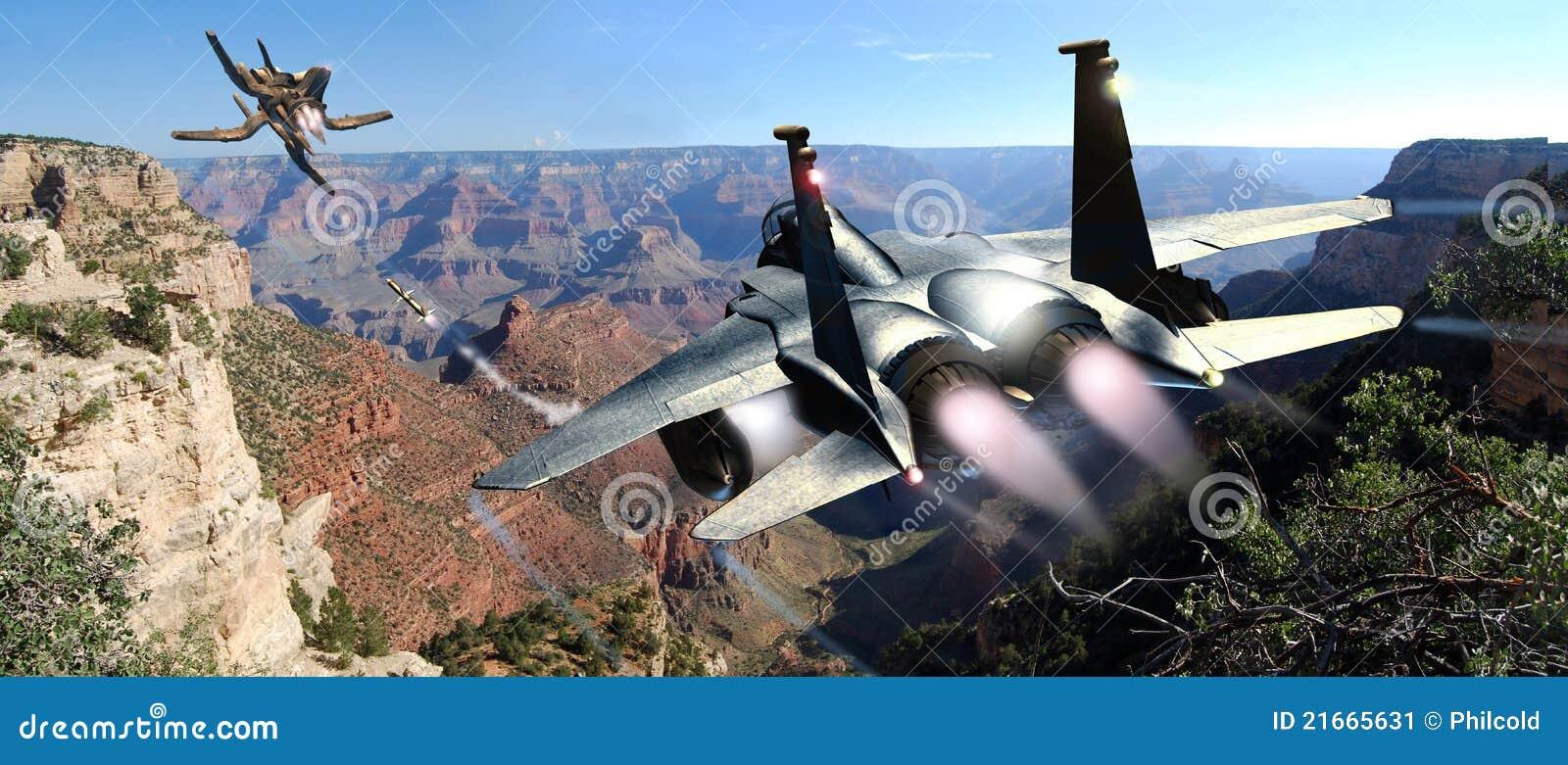 De achtervolging van de vechter en van het UFO