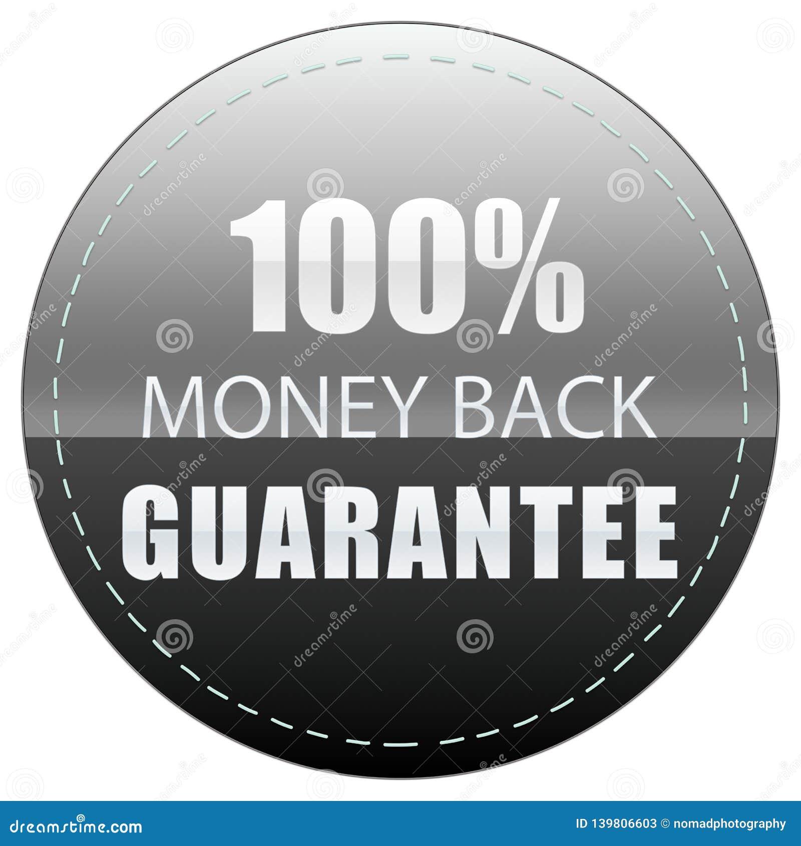De AchterWaarborg van het Geld van 100  ILLUSTRATIE VAN HET HET KENTEKENetiket VAN HET KLEUREN DE ZWARTE WITTE EN GRIJZE PICTOGRA