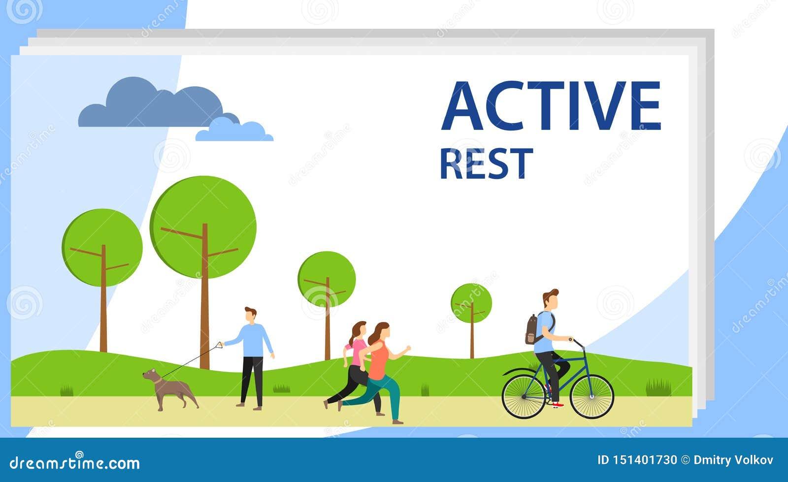 De actieve rust Mensen ontspannen actief in het park, in werking stellen, berijden een fiets, lopen hun honden
