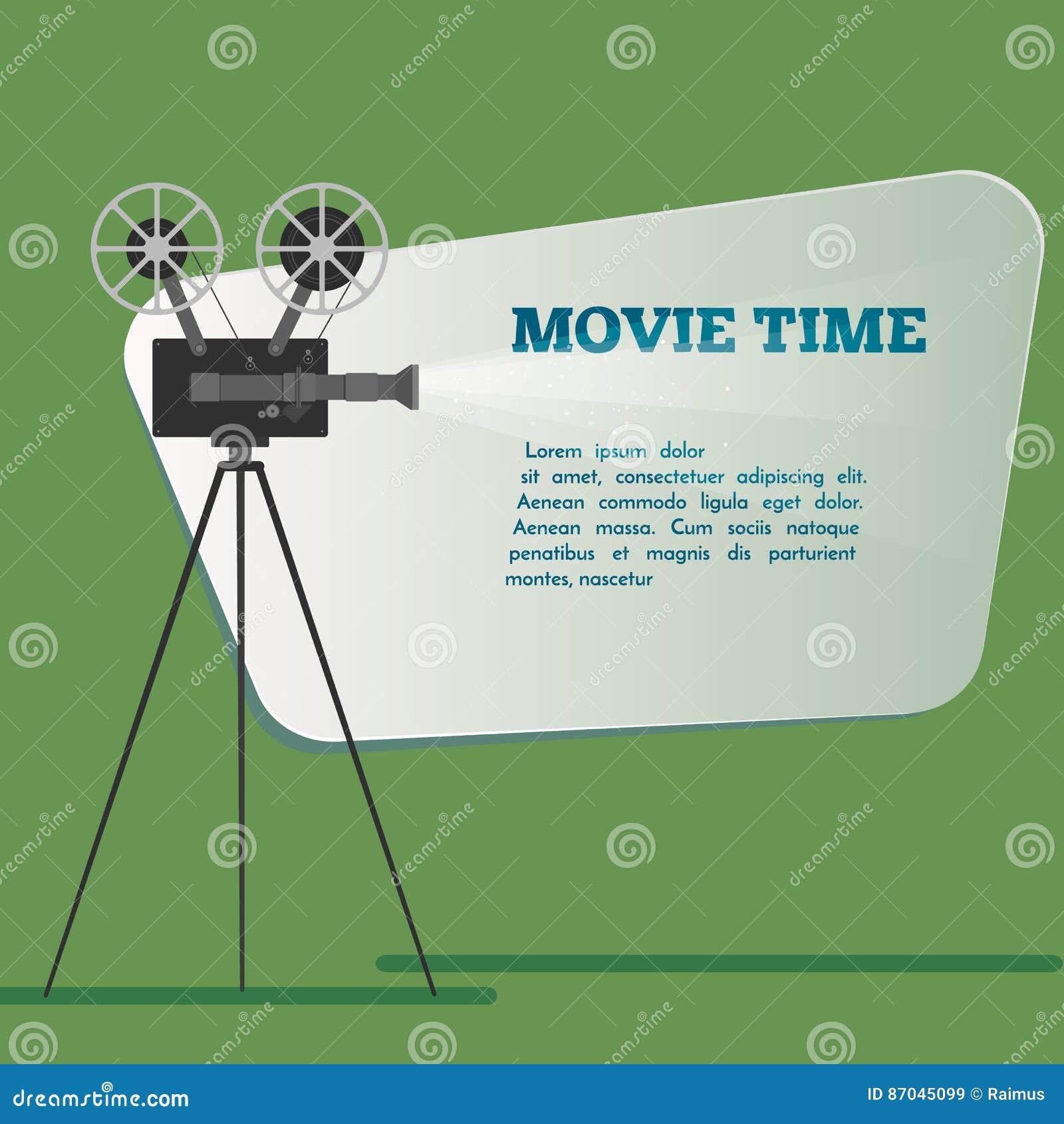 De affiche van de filmtijd De vectorillustratie van het beeldverhaal Bioskoopfilm
