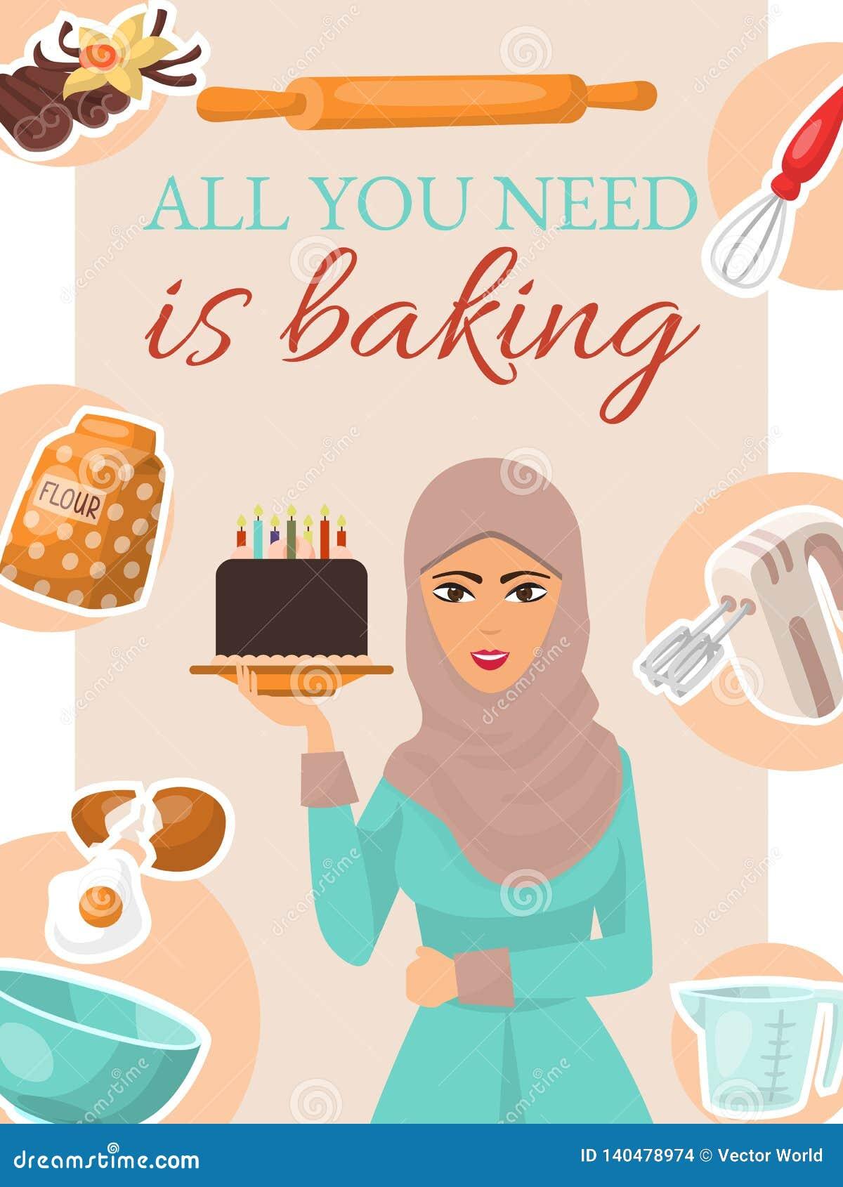 De affiche van het bakselconcept, banner De cake van de de holdingsverjaardag van de vrouw met kaarsen Keukengerei en ingrediënte