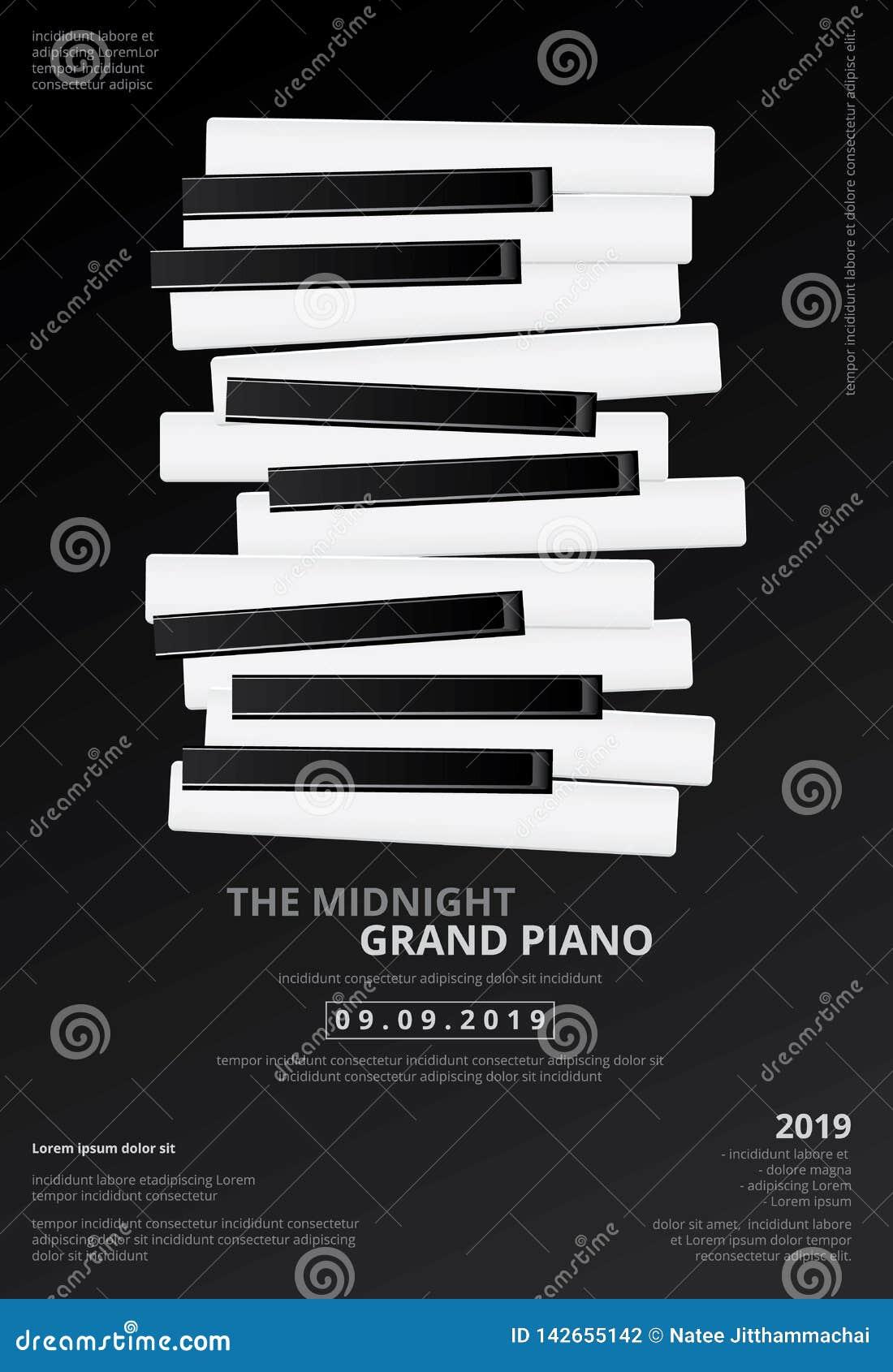 De Affiche van de muziek Groot Piano Malplaatje Als achtergrond