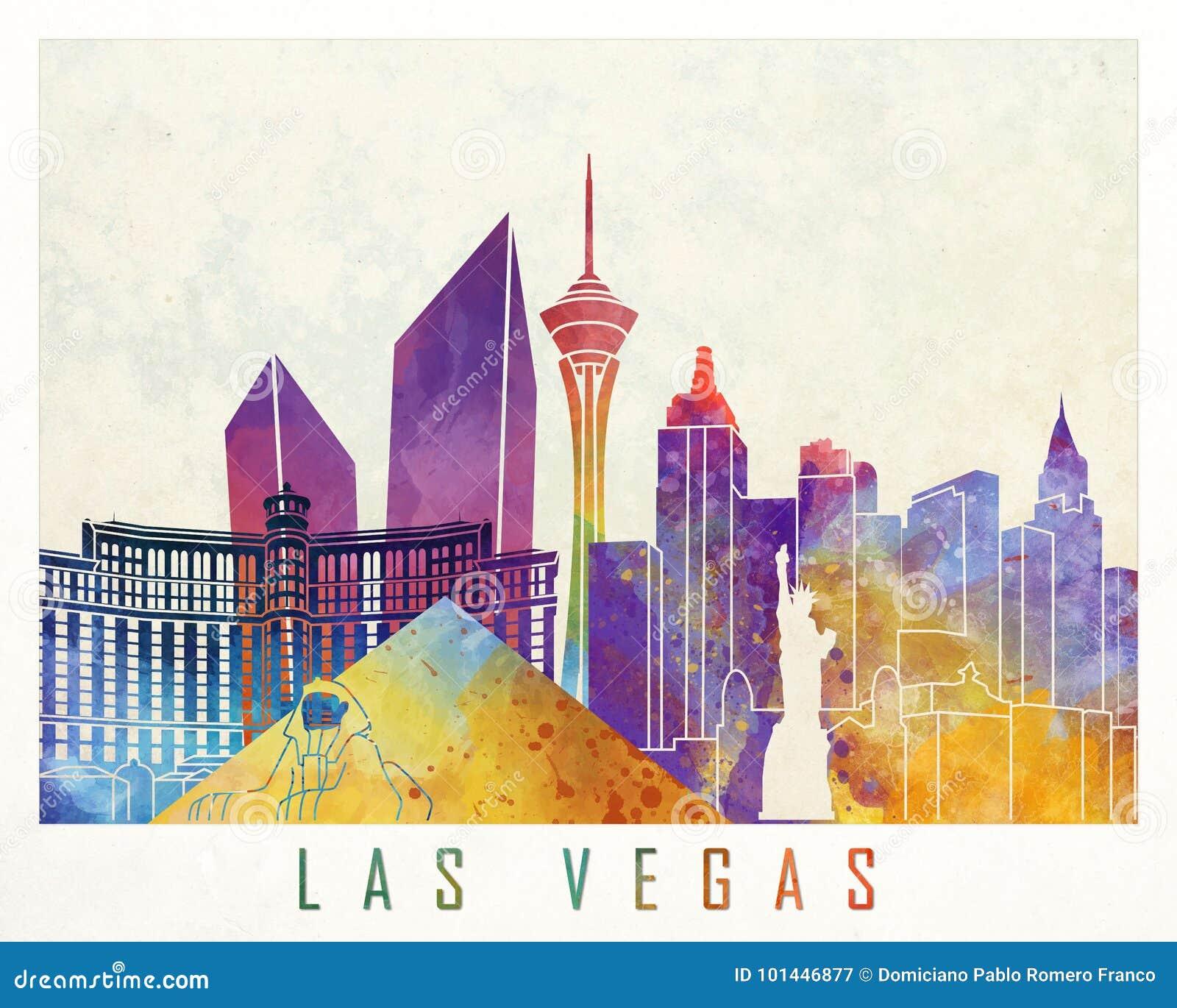 De affiche van de de oriëntatiepuntenwaterverf van Las Vegas