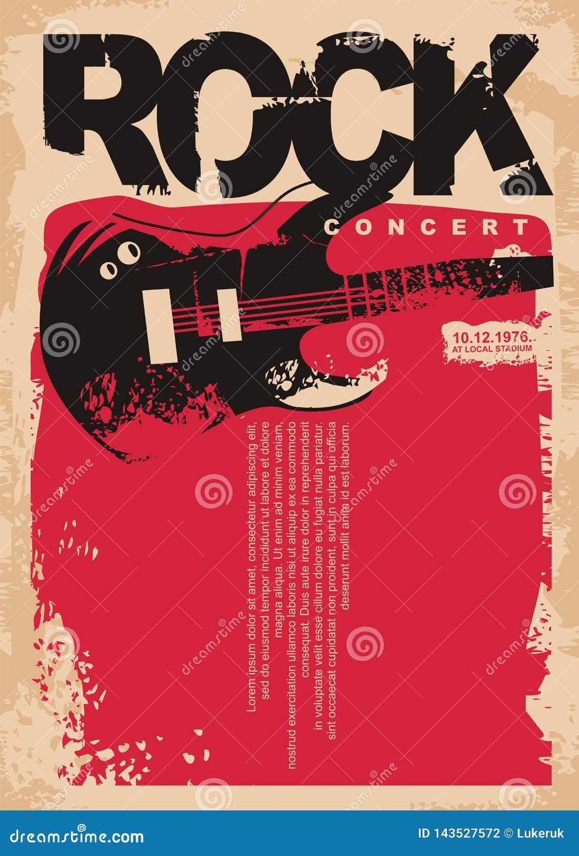 De affichemalplaatje van het rotsoverleg met elektrische gitaar op grungy rode achtergrond