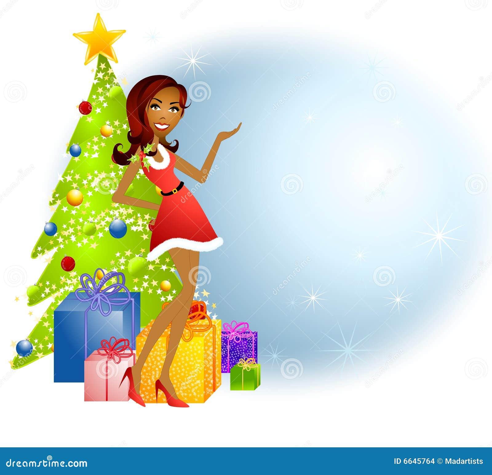 De Afrikaanse Amerikaanse Helper van Kerstmis van de Kerstman