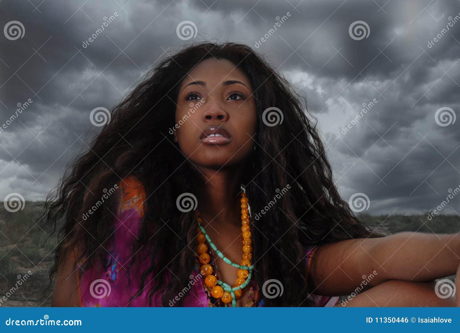 De Afrikaanse Amerikaanse vrouw zit in de safari