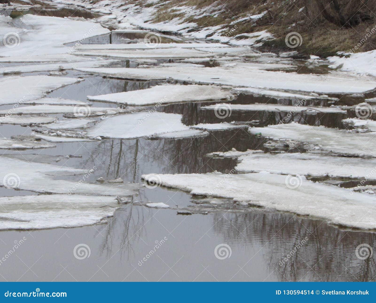 De afwijking van het de lenteijs op de rivier