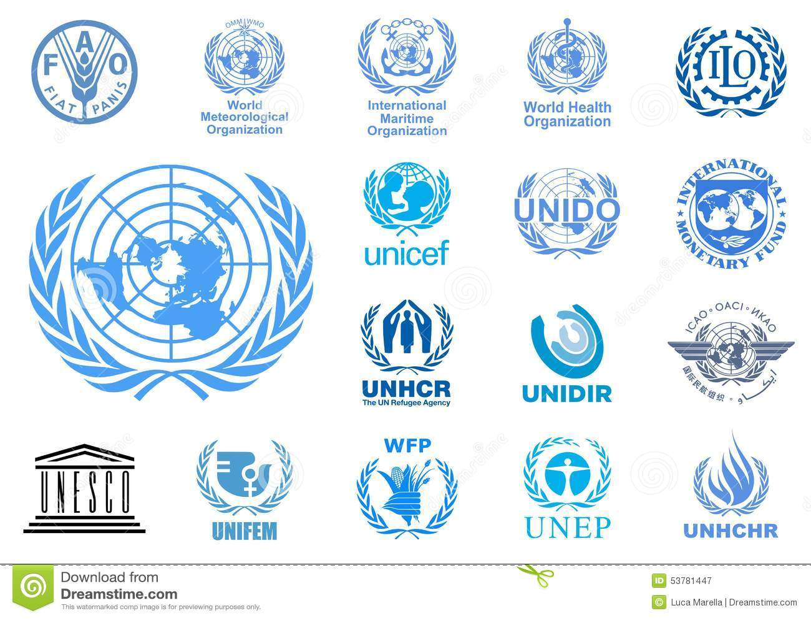 De agentschappenemblemen van de Verenigde Naties
