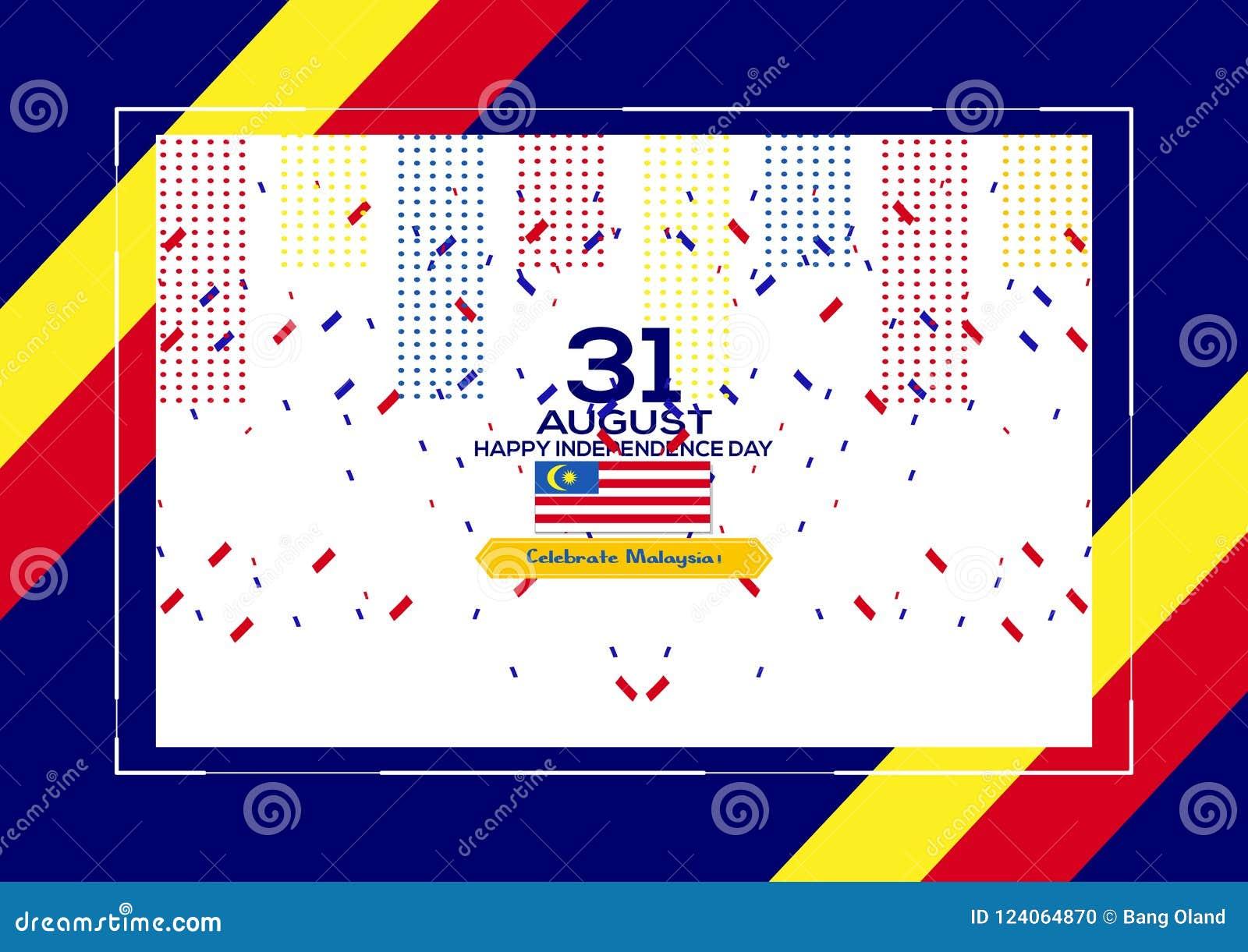 31 de agosto - Vector el diseño patriótico del Día de la Independencia de Malasia del ejemplo Tarjeta de felicitación feliz del v
