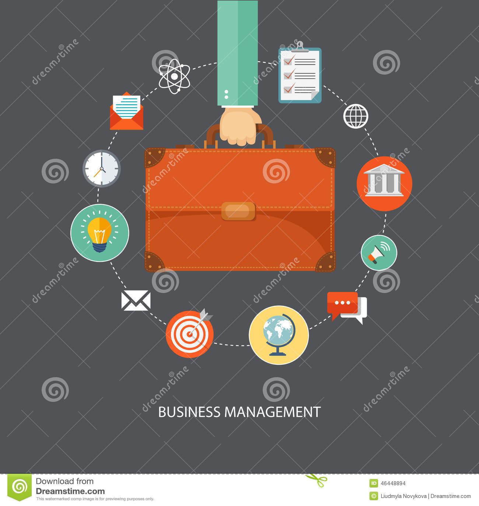 De aktentas van de handholding met pictogrammen Bedrijfseconomie vlakke illu