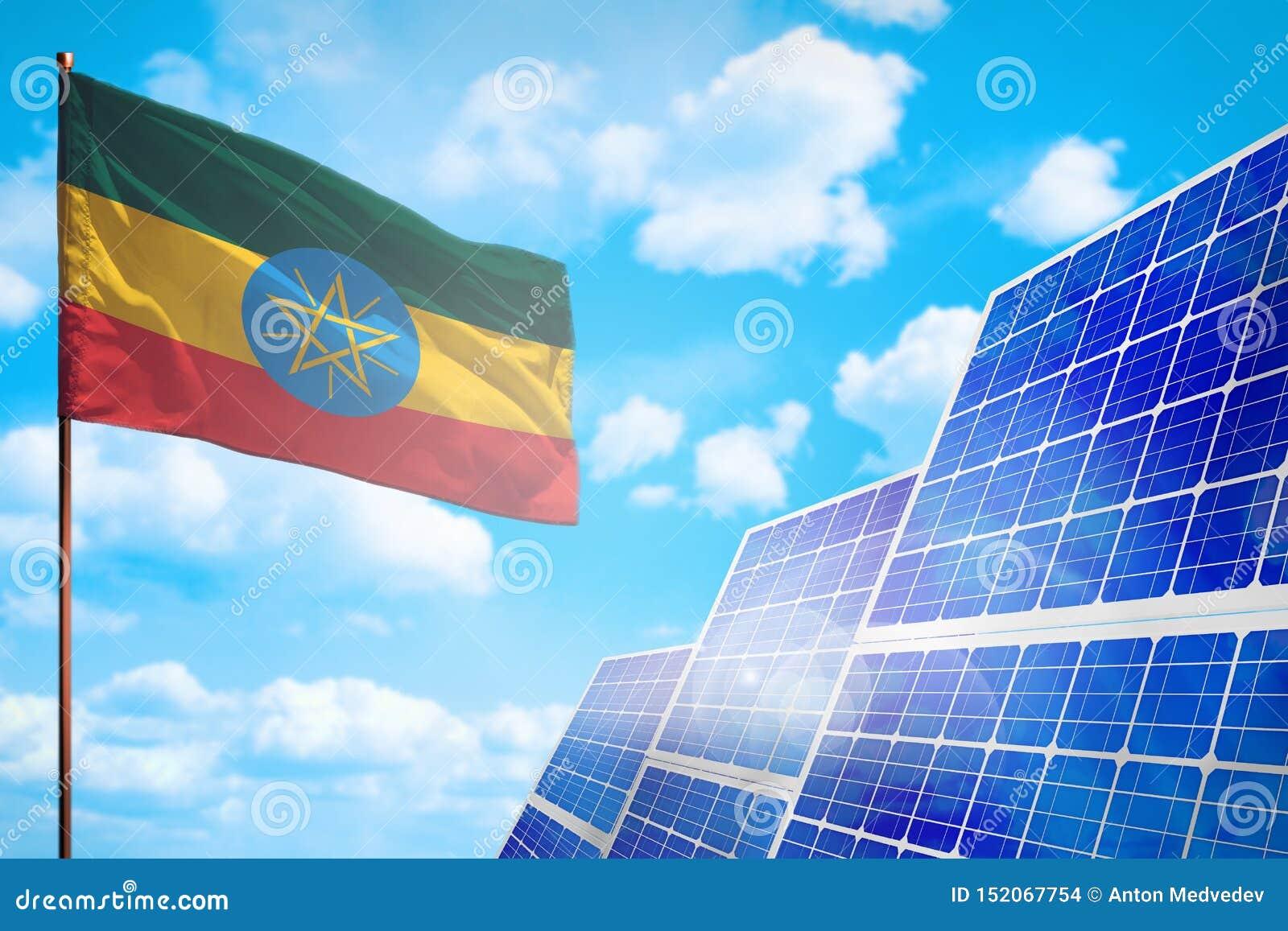 De alternatieve energie van Ethiopië, zonne-energieconcept met vlag industriële illustratie - 3D symbool van strijd met het globa