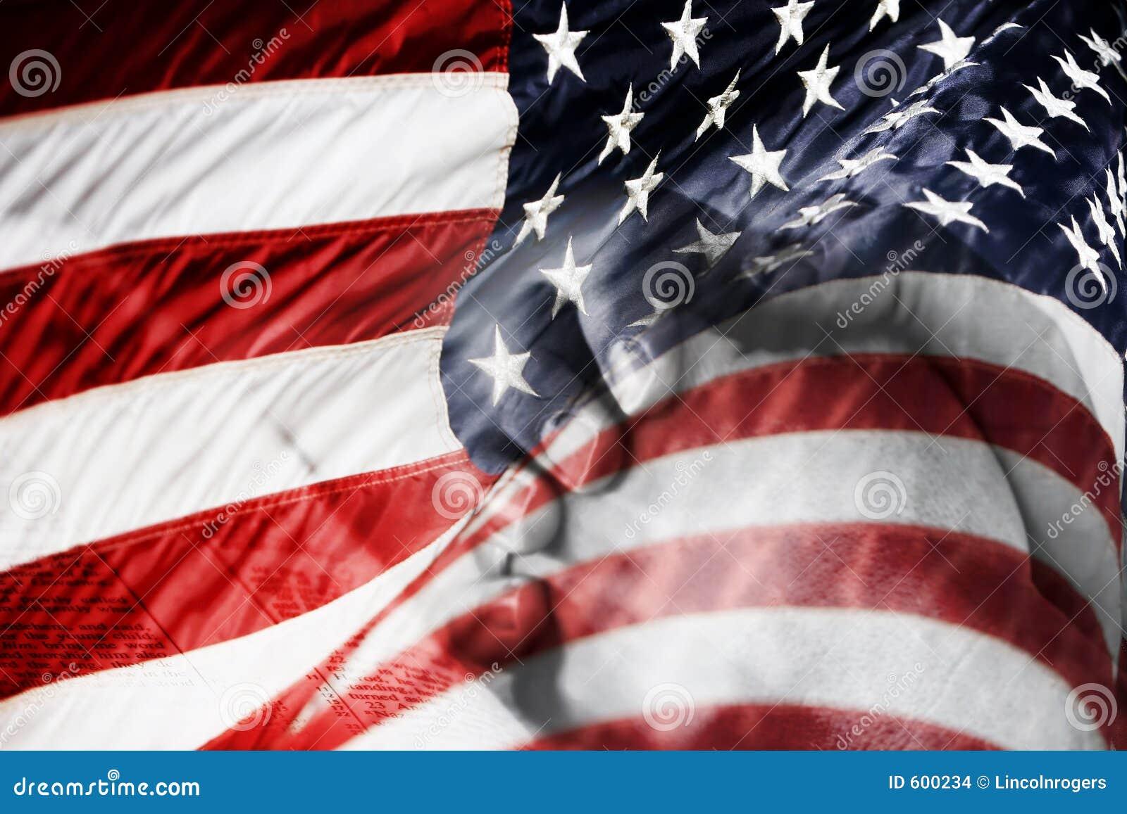 De Amerikaanse Handen van de Vlag & het Bidden (Gemengd Beeld)