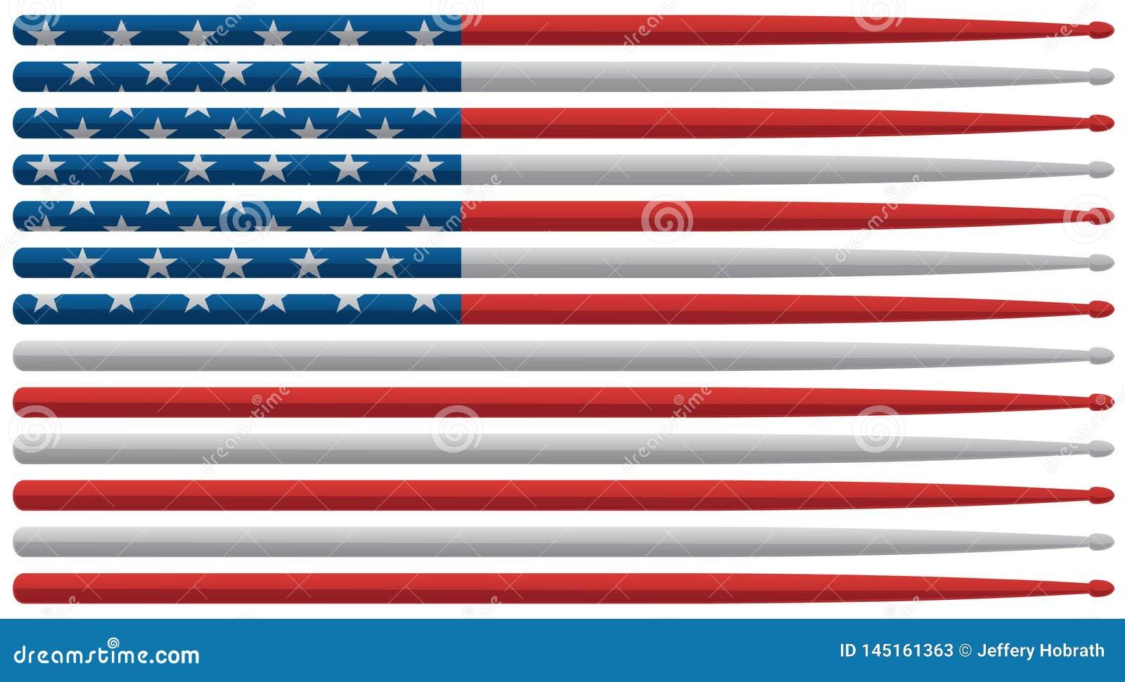 De Amerikaanse slagwerkervlag met rode, witte en blauwe sterren en de strepen trommelen stokken geïsoleerde vectorillustratie