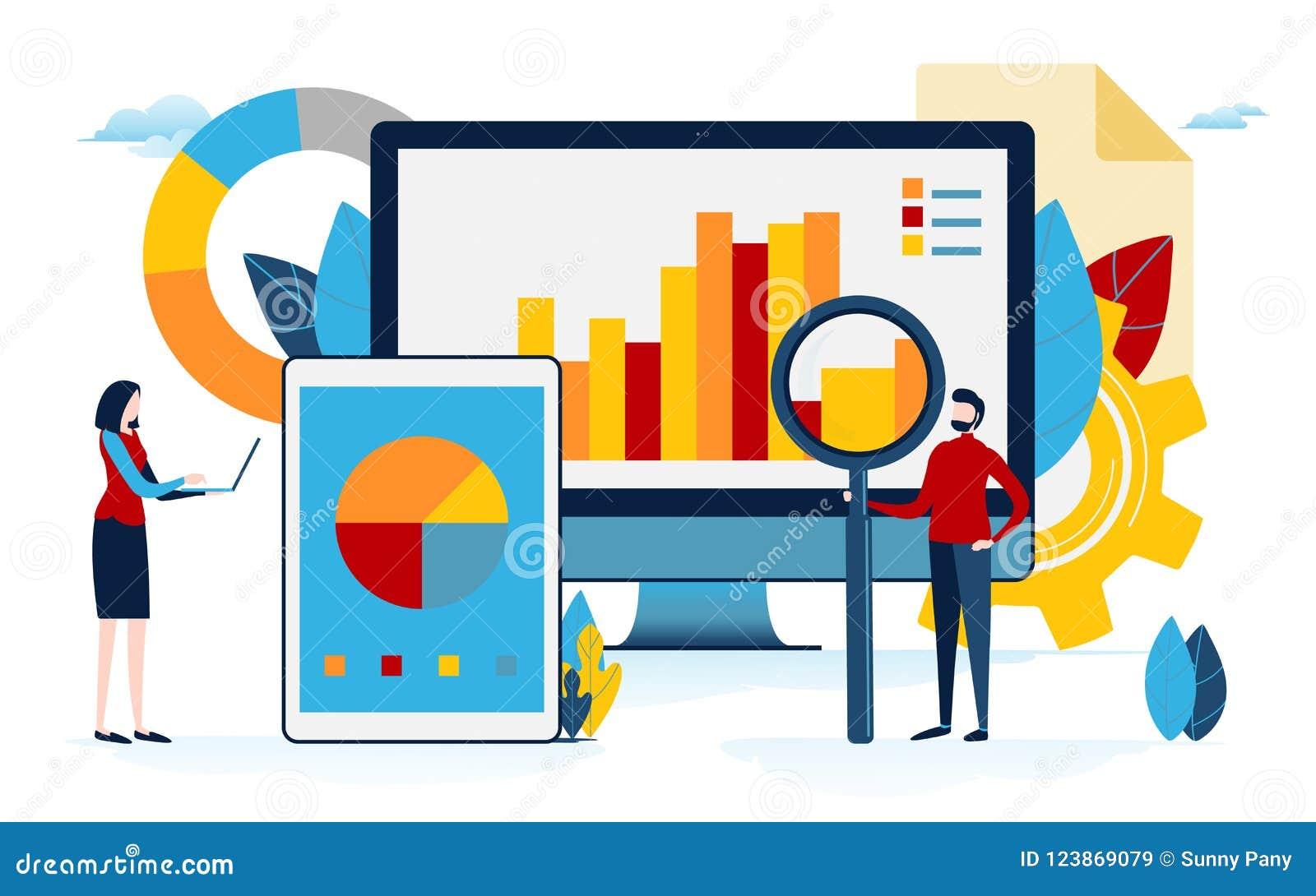 De analyse van gegevens Bedrijfsinhoud grafiek, cirkeldiagram, grafische informatie De vlakke grafische vector van de beeldverhaa