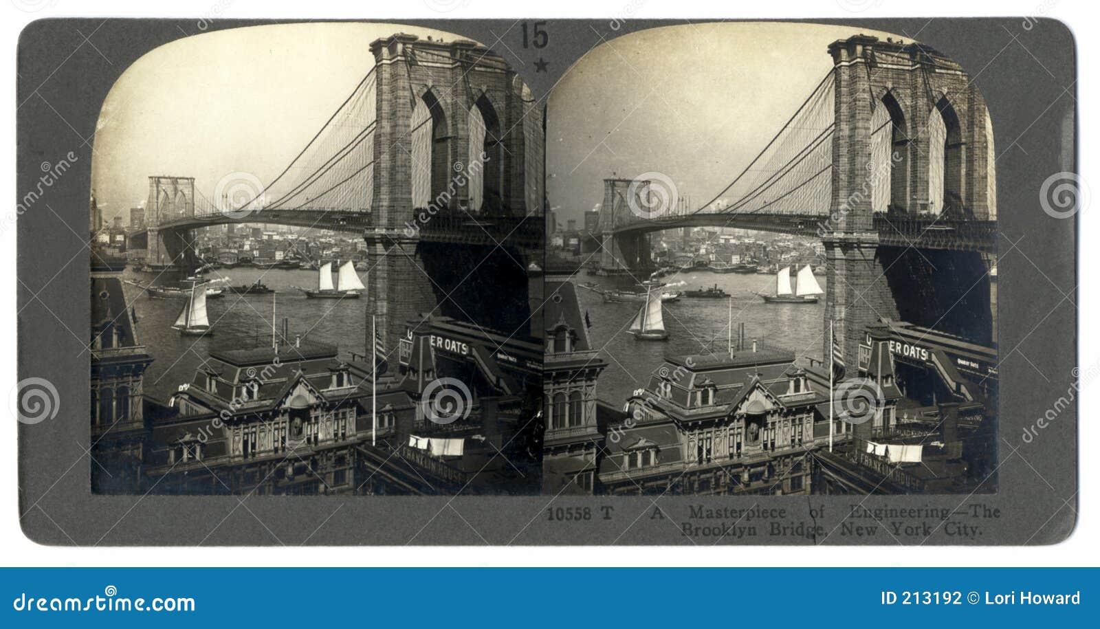 De antieke Brug Stereograph van Brooklyn