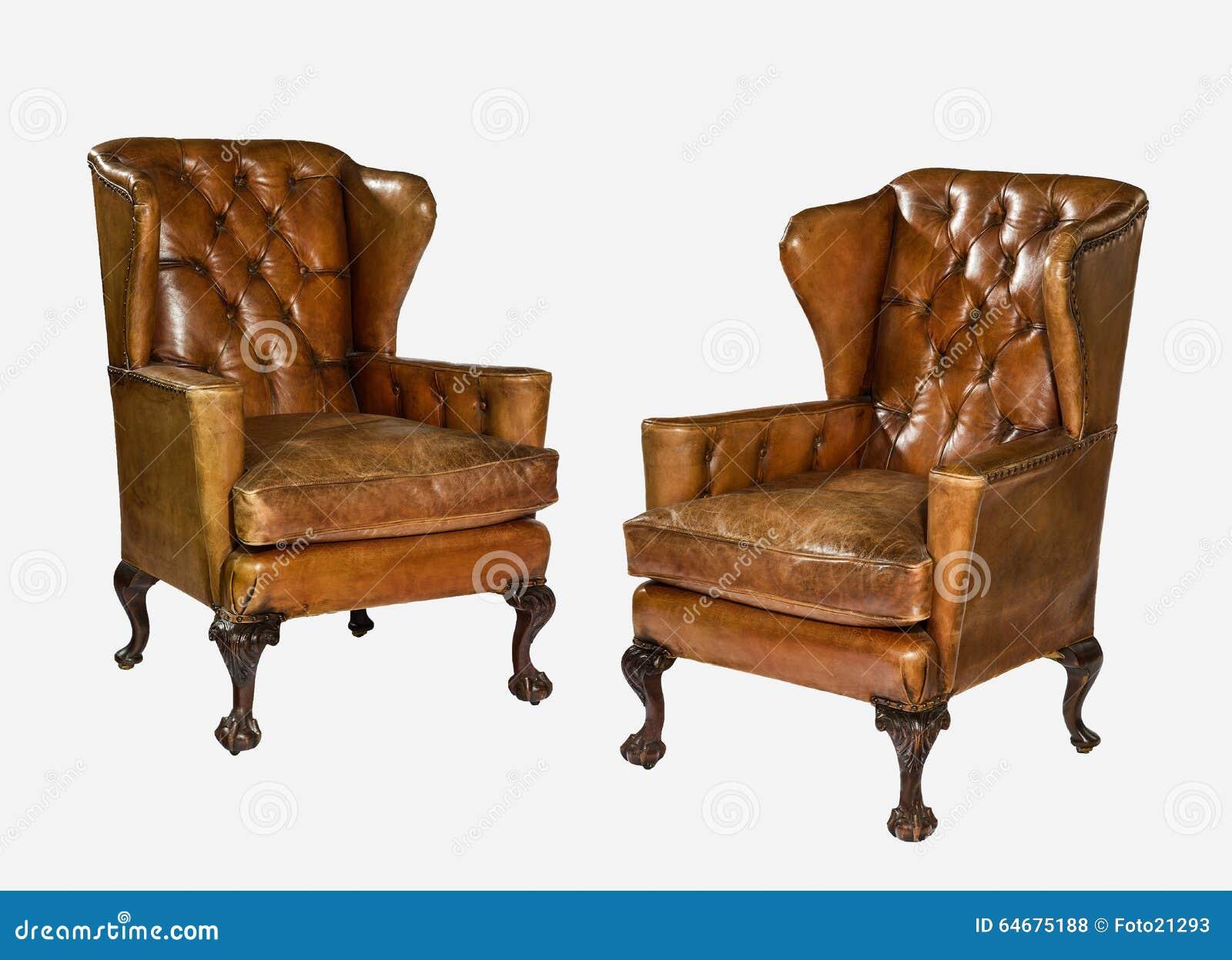 De antieke gesneden die benen van de leervleugel stoel met for Bruine leren stoel